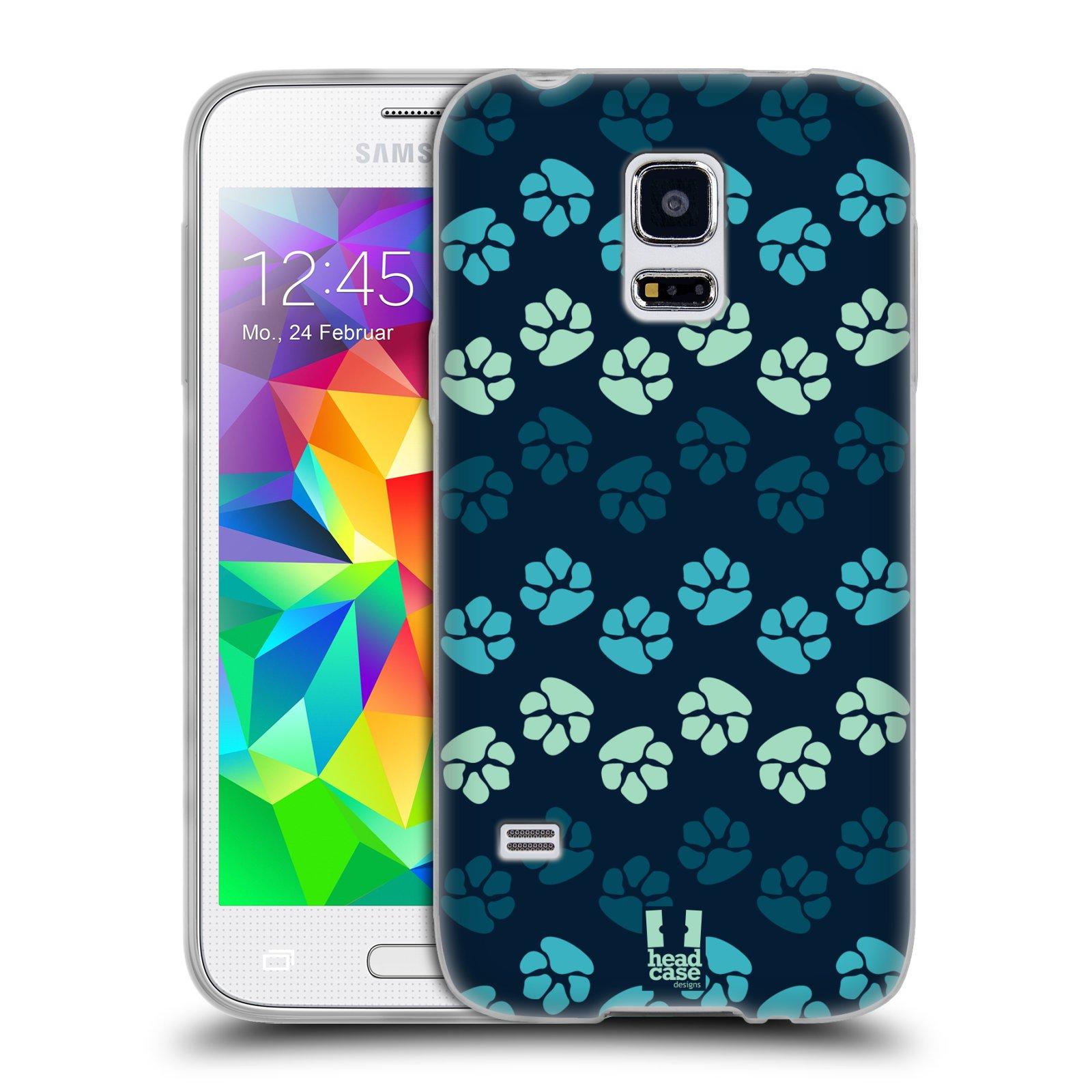 Silikonové pouzdro na mobil Samsung Galaxy S5 Mini HEAD CASE TLAPKY MODRÉ (Silikonový kryt či obal na mobilní telefon Samsung Galaxy S5 Mini SM-G800F)