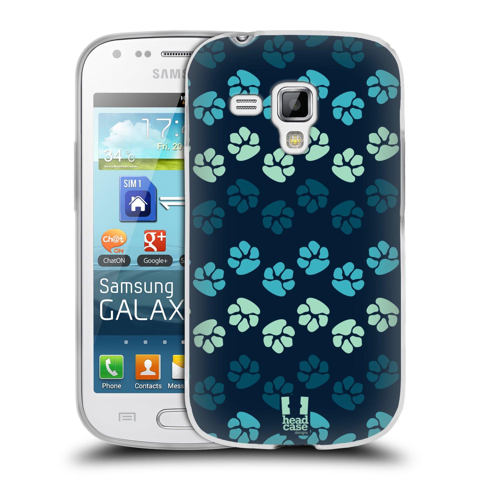 Silikonové pouzdro na mobil Samsung Galaxy Trend HEAD CASE TLAPKY MODRÉ (Silikonový kryt či obal na mobilní telefon Samsung Galaxy Trend GT-S7560)