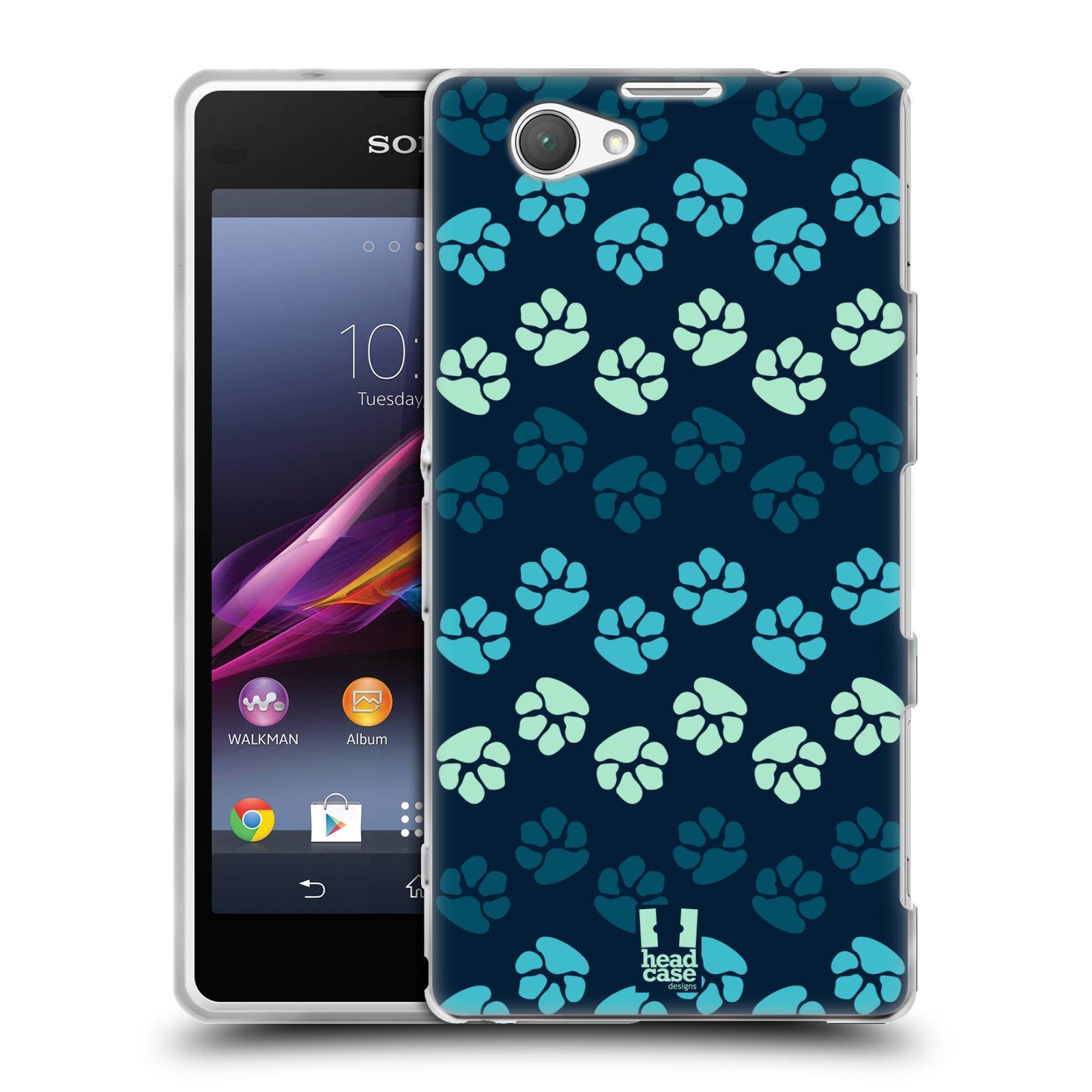 Silikonové pouzdro na mobil Sony Xperia Z1 Compact D5503 HEAD CASE TLAPKY MODRÉ (Silikonový kryt či obal na mobilní telefon Sony Xperia Z1 Compact)