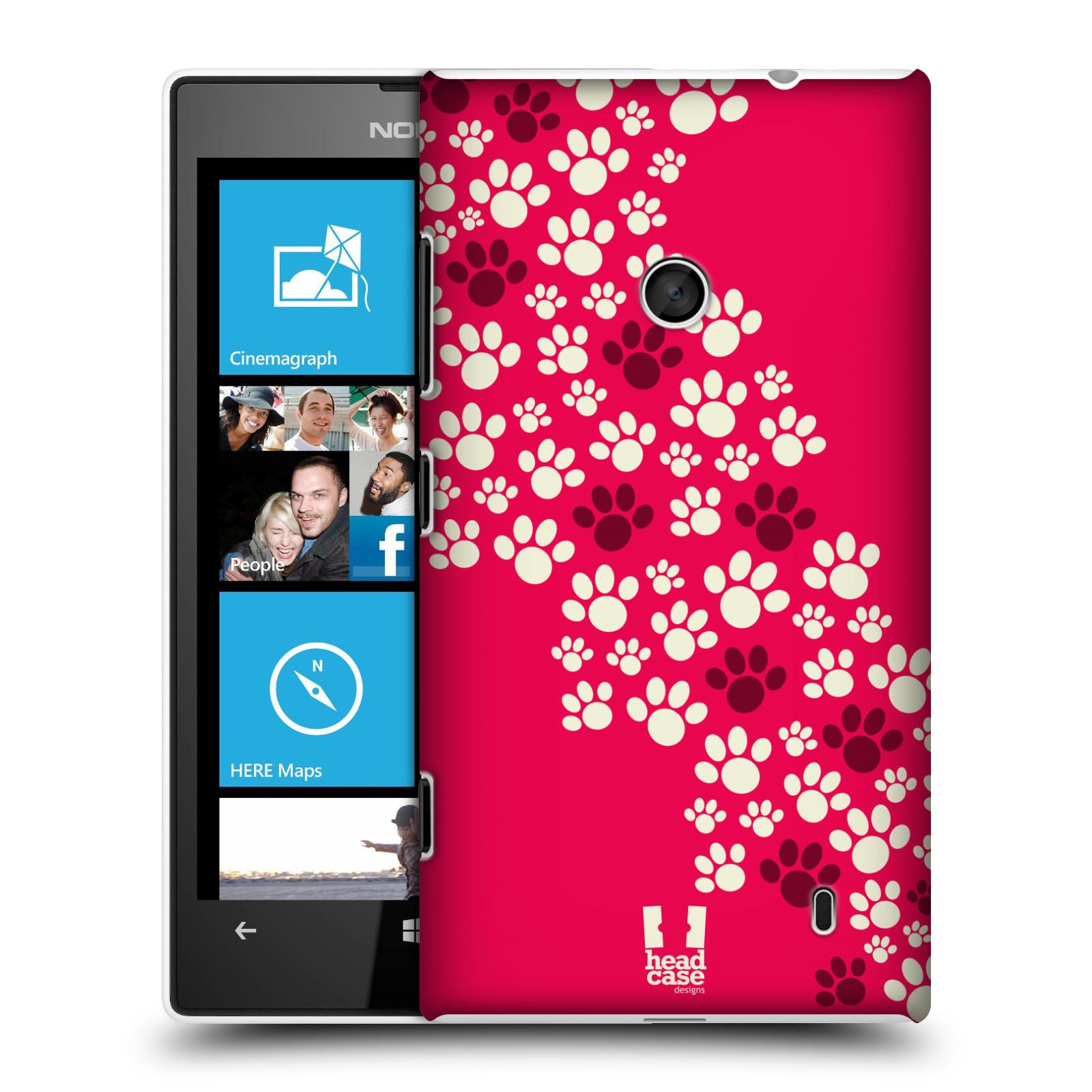 Plastové pouzdro na mobil Nokia Lumia 520 HEAD CASE TLAPKY RŮŽOVÉ (Kryt či obal na mobilní telefon Nokia Lumia 520 )