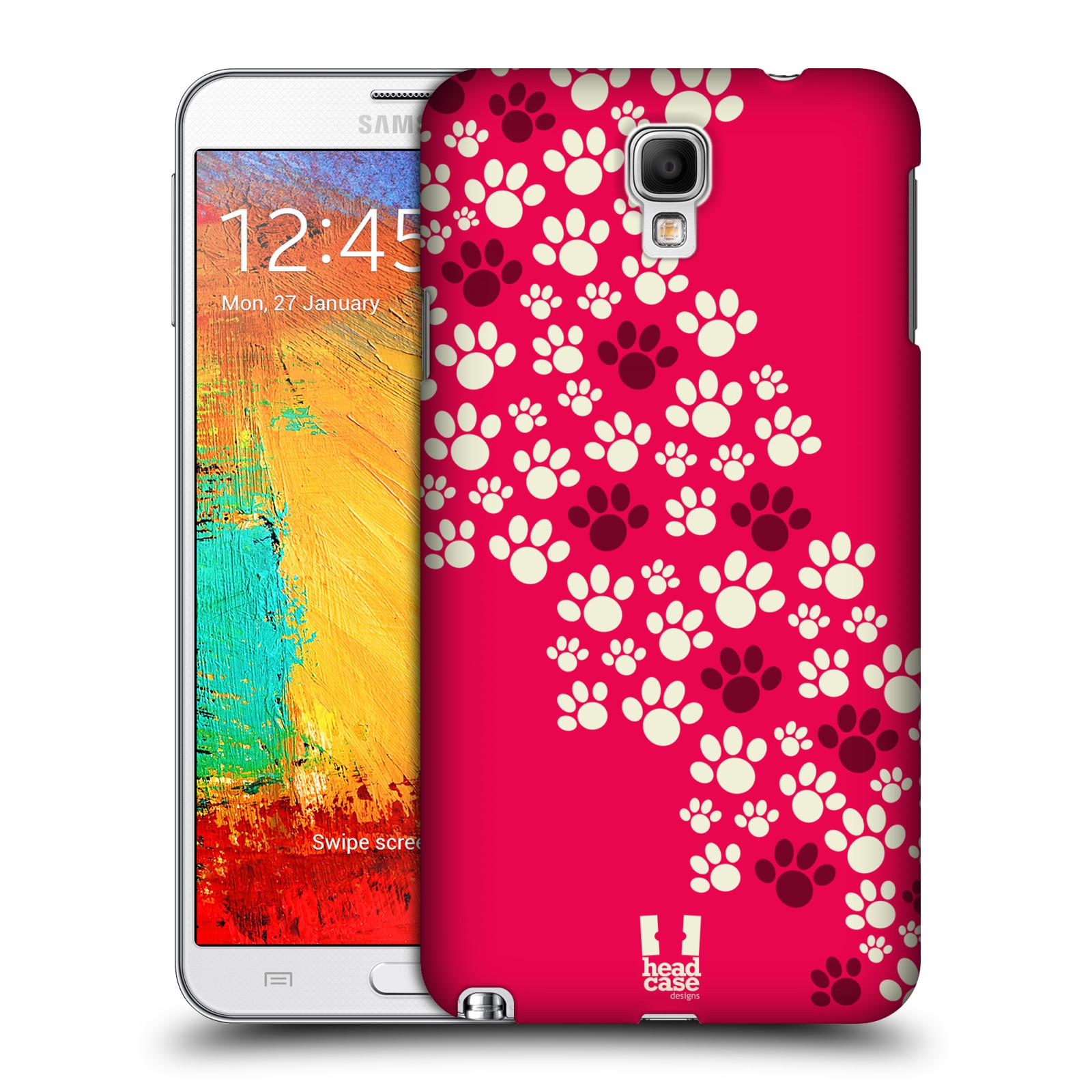 Plastové pouzdro na mobil Samsung Galaxy Note 3 Neo HEAD CASE TLAPKY RŮŽOVÉ (Kryt či obal na mobilní telefon Samsung Galaxy Note 3 Neo SM-N7505)