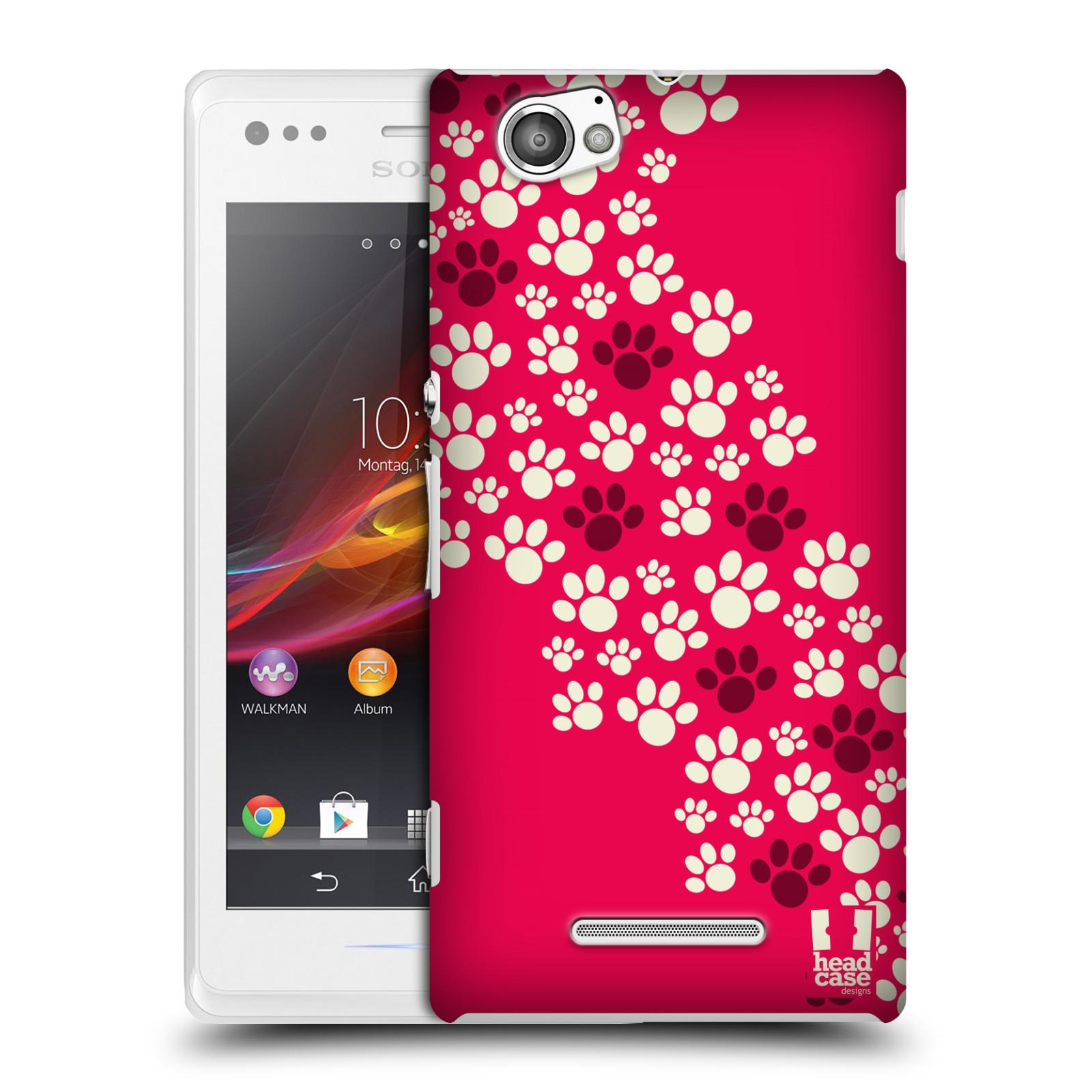 Plastové pouzdro na mobil Sony Xperia M C1905 HEAD CASE TLAPKY RŮŽOVÉ (Kryt či obal na mobilní telefon Sony Xperia M a M Dual)