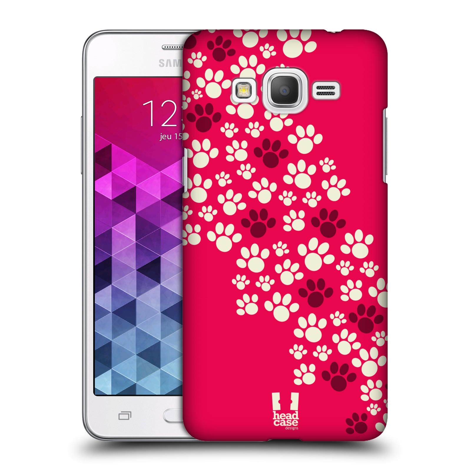 Plastové pouzdro na mobil Samsung Galaxy Grand Prime HEAD CASE TLAPKY RŮŽOVÉ (Kryt či obal na mobilní telefon Samsung Galaxy Grand Prime SM-G530)
