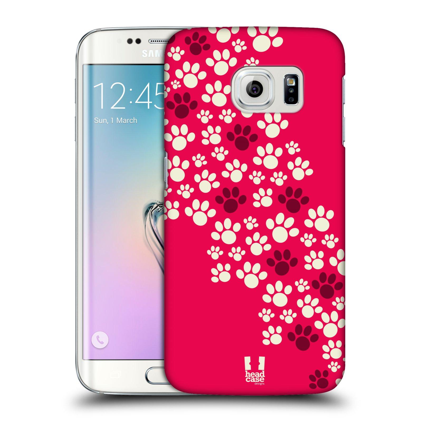 Plastové pouzdro na mobil Samsung Galaxy S6 Edge HEAD CASE TLAPKY RŮŽOVÉ (Kryt či obal na mobilní telefon Samsung Galaxy S6 Edge SM-G925F)