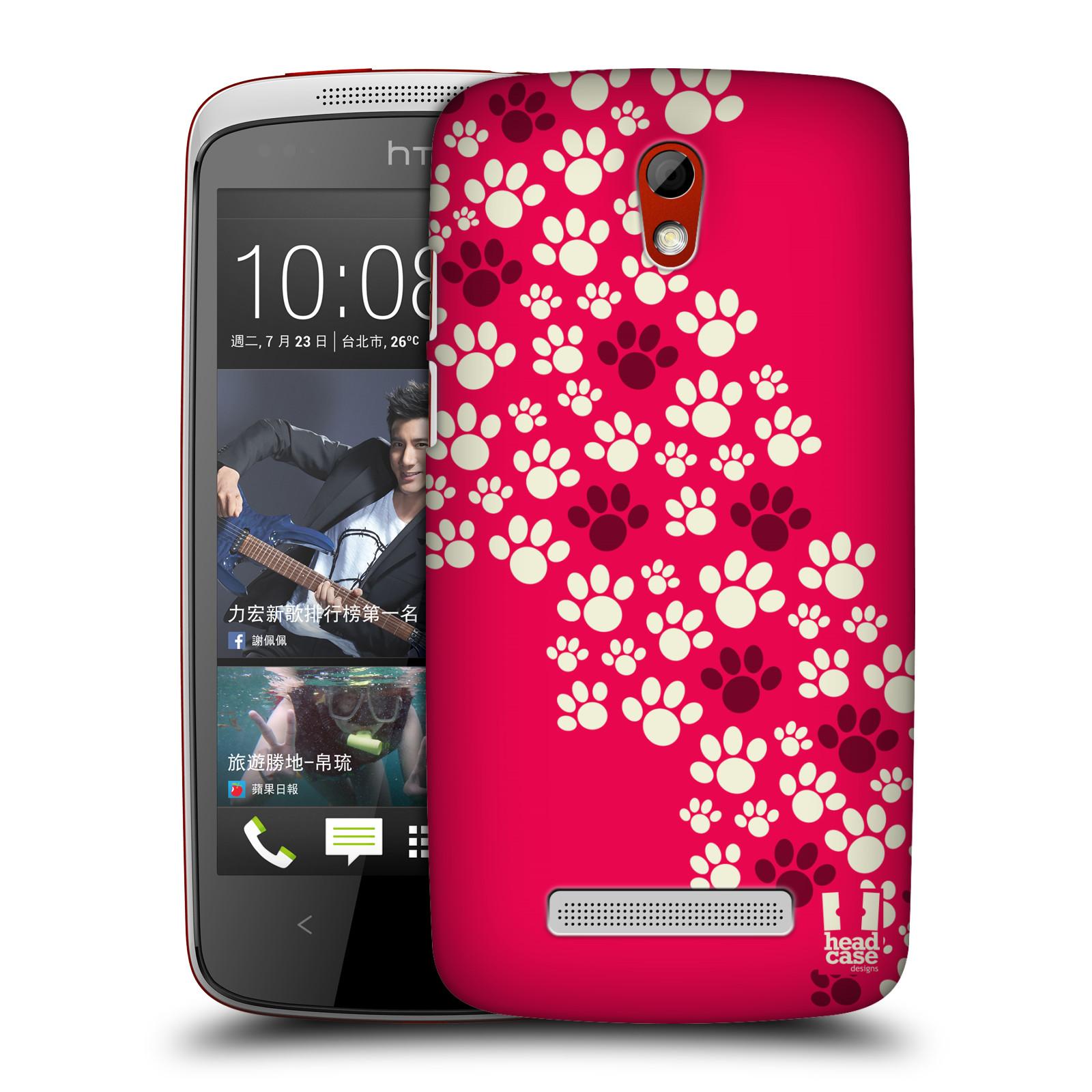 Plastové pouzdro na mobil HTC Desire 500 HEAD CASE TLAPKY RŮŽOVÉ (Kryt či obal na mobilní telefon HTC Desire 500)
