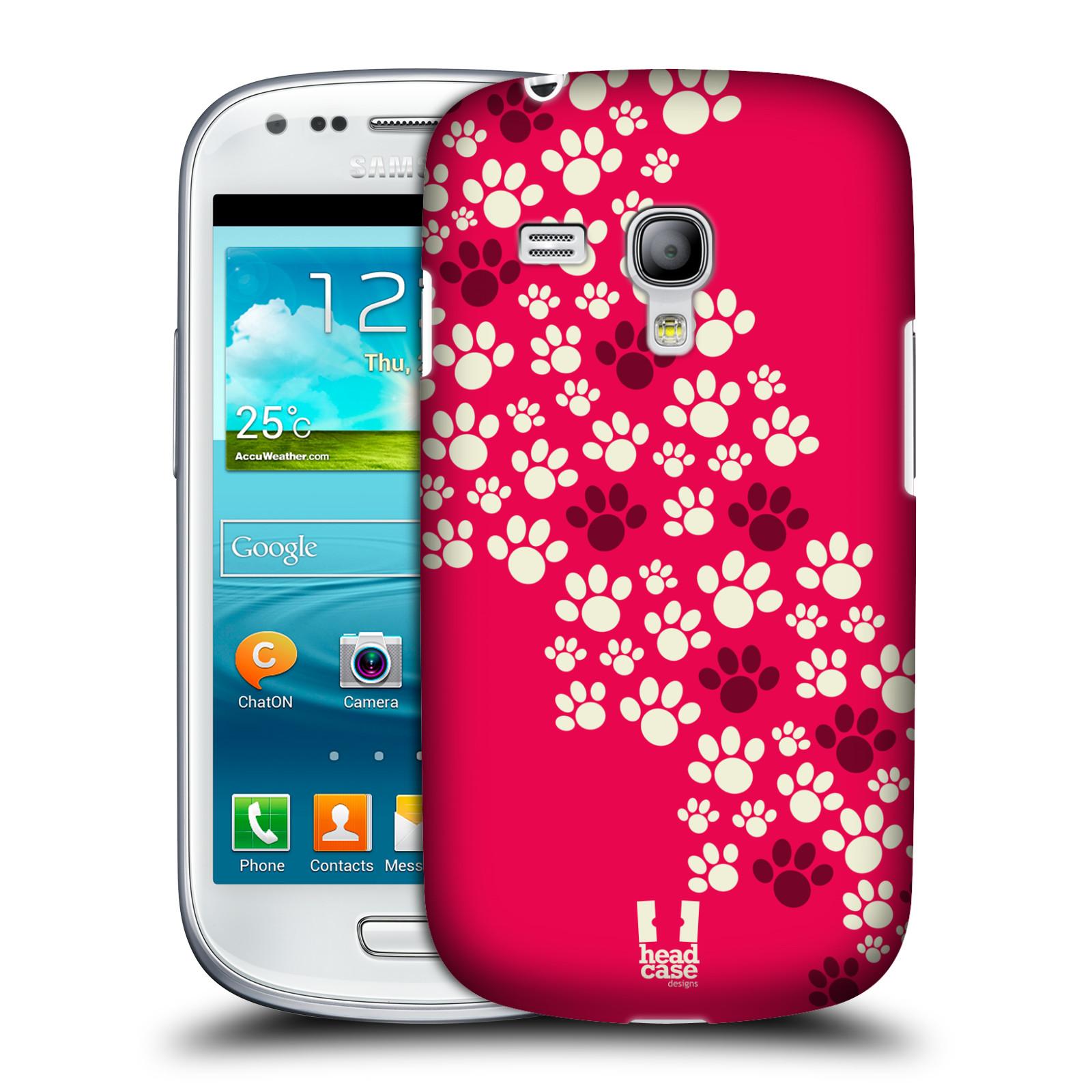 Plastové pouzdro na mobil Samsung Galaxy S III Mini HEAD CASE TLAPKY RŮŽOVÉ (Kryt či obal na mobilní telefon Samsung Galaxy S III Mini GT-i8190)