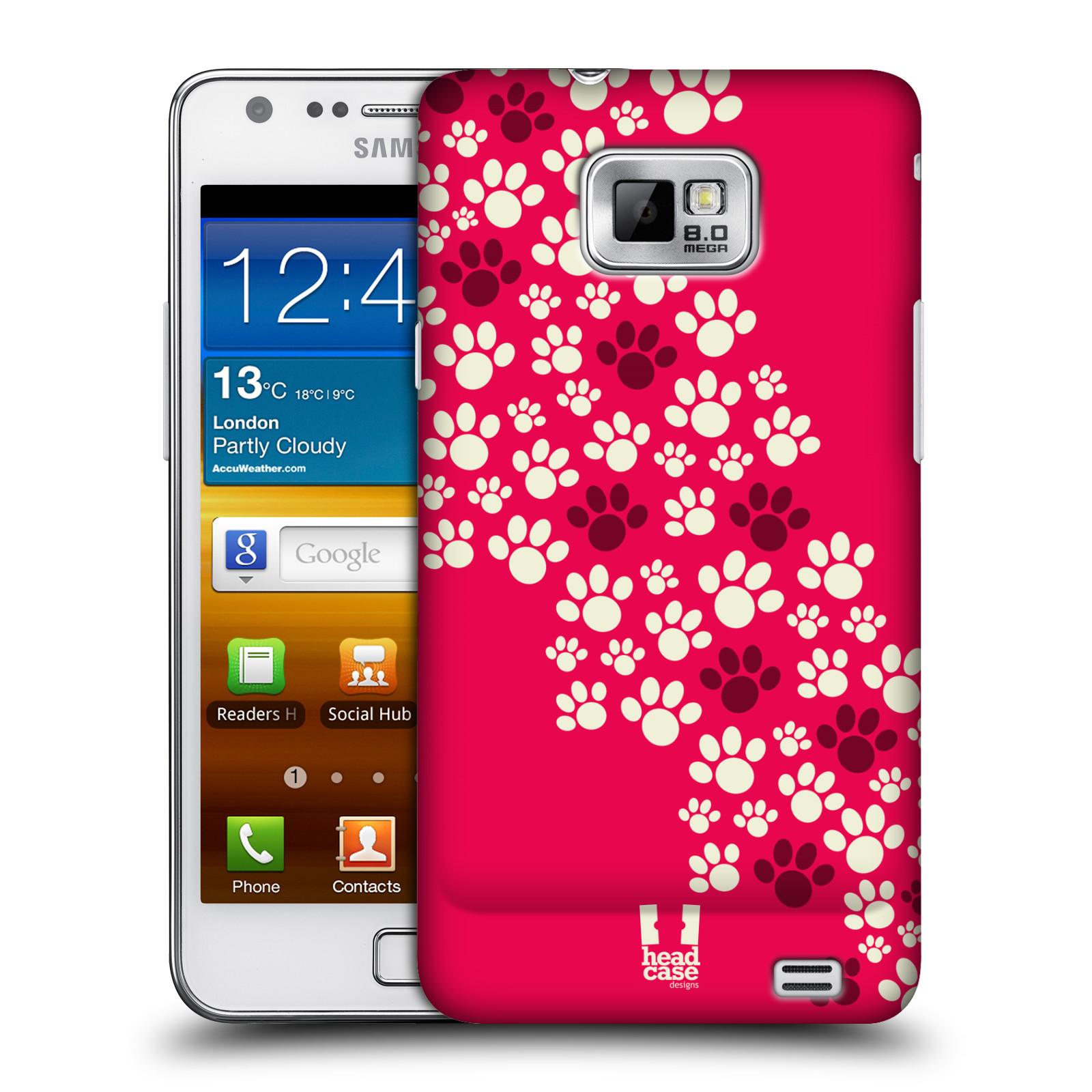 Plastové pouzdro na mobil Samsung Galaxy S II HEAD CASE TLAPKY RŮŽOVÉ (Kryt či obal na mobilní telefon Samsung Galaxy S II GT-i9100)