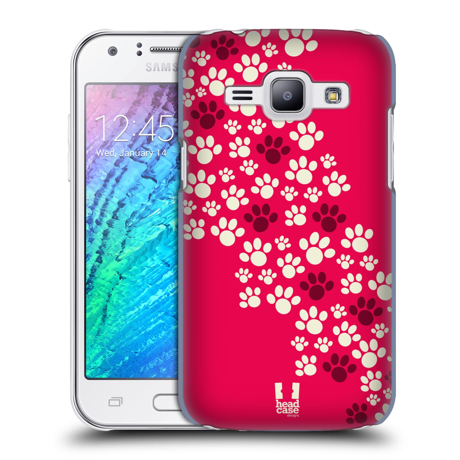 Plastové pouzdro na mobil Samsung Galaxy J1 HEAD CASE TLAPKY RŮŽOVÉ (Kryt či obal na mobilní telefon Samsung Galaxy J1 a J1 Duos )