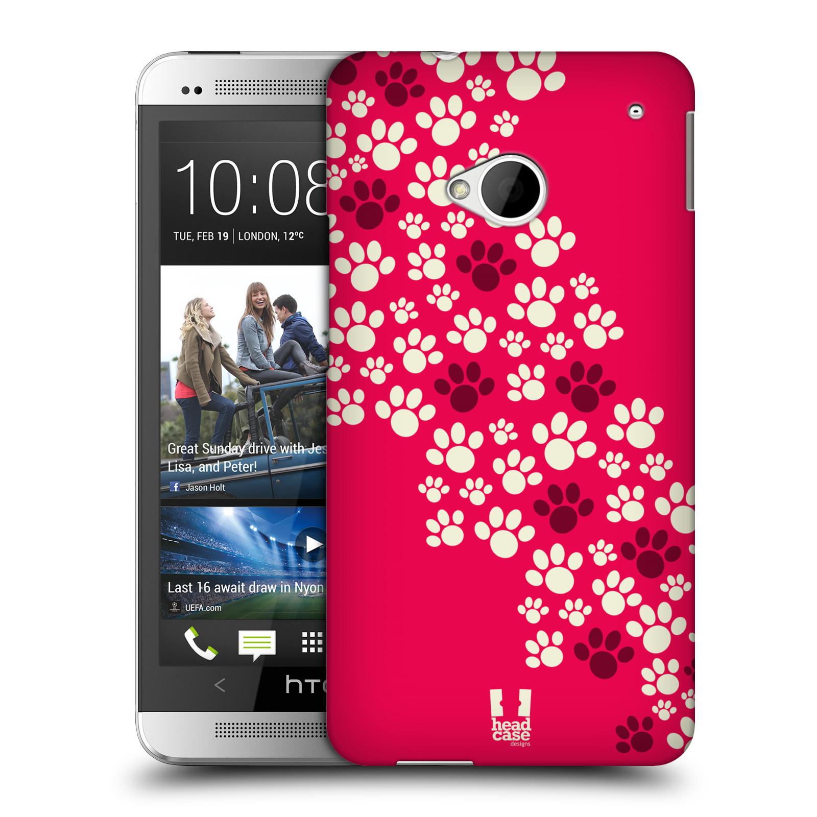 Plastové pouzdro na mobil HTC ONE M7 HEAD CASE TLAPKY RŮŽOVÉ (Kryt či obal na mobilní telefon HTC ONE M7)
