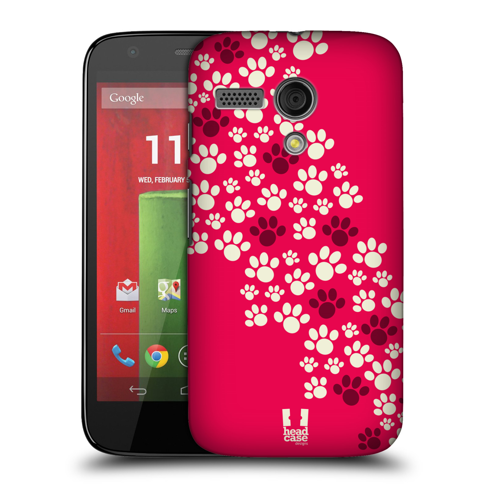 Plastové pouzdro na mobil Motorola Moto G HEAD CASE TLAPKY RŮŽOVÉ (Kryt či obal na mobilní telefon Motorola Moto G)