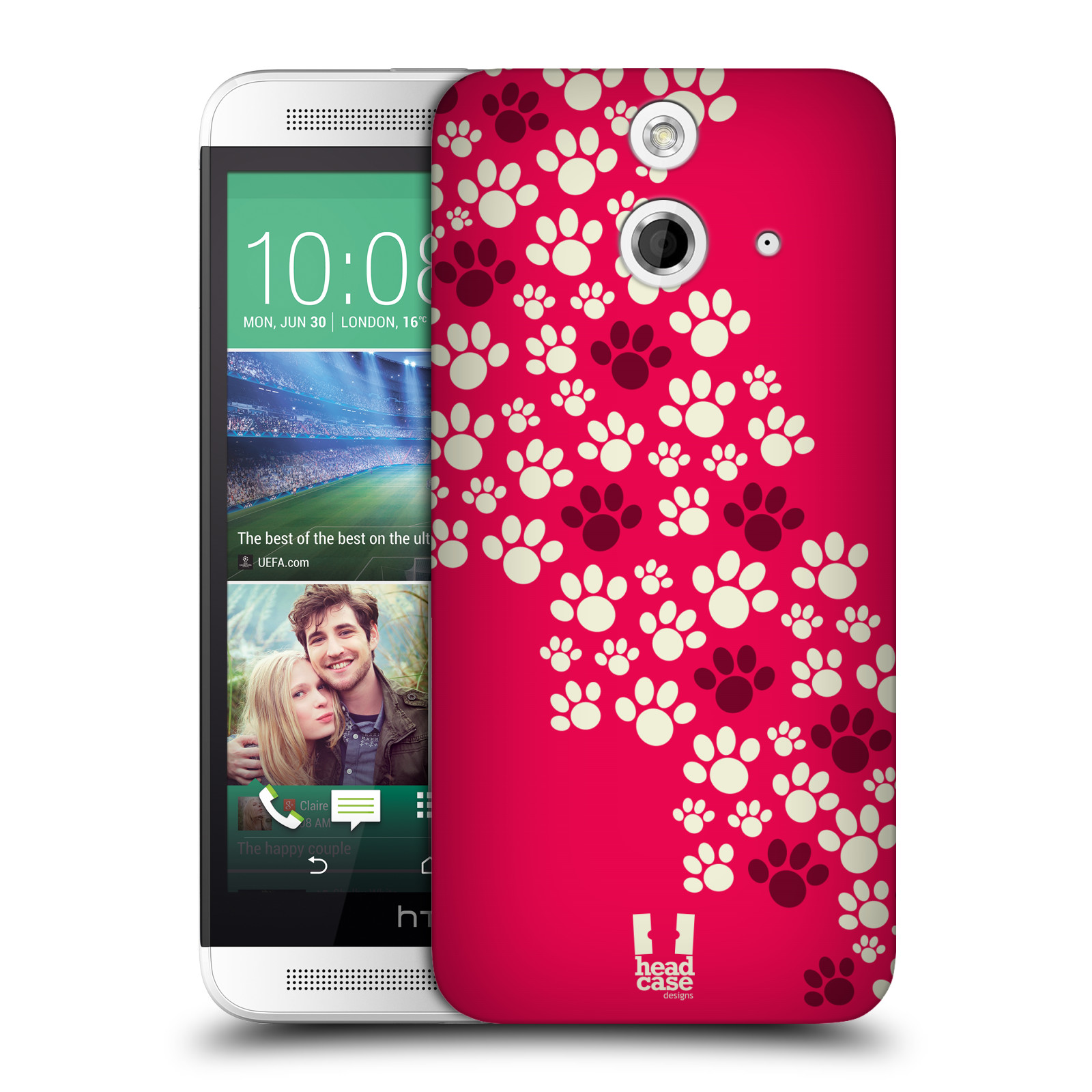 Plastové pouzdro na mobil HTC ONE E8 HEAD CASE TLAPKY RŮŽOVÉ (Kryt či obal na mobilní telefon HTC ONE E8)