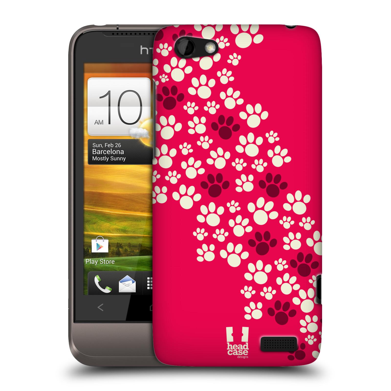 Plastové pouzdro na mobil HTC ONE V HEAD CASE TLAPKY RŮŽOVÉ (Kryt či obal na mobilní telefon HTC ONE V)