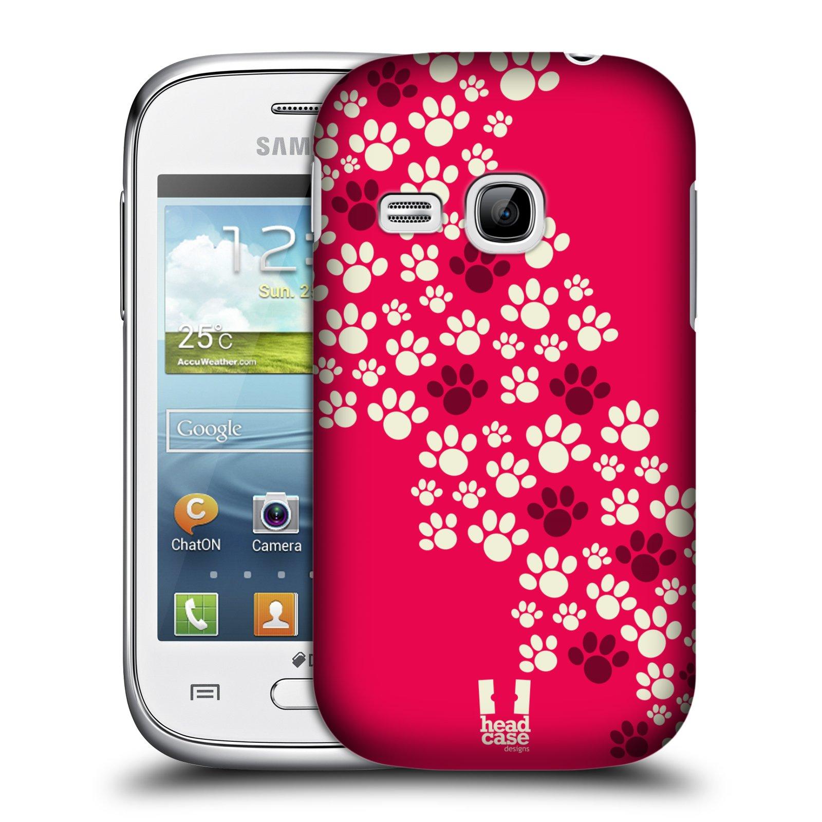 Plastové pouzdro na mobil Samsung Galaxy Young HEAD CASE TLAPKY RŮŽOVÉ (Kryt či obal na mobilní telefon Samsung Galaxy Young GT-S6310)