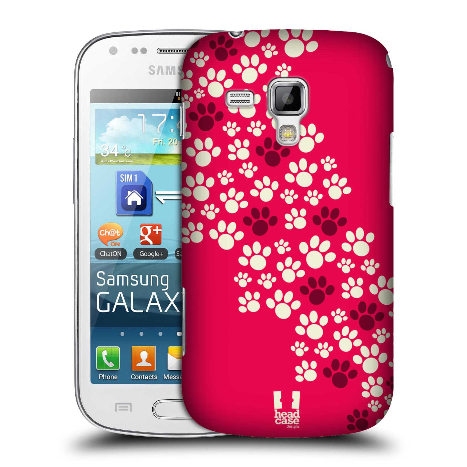 Plastové pouzdro na mobil Samsung Galaxy S Duos HEAD CASE TLAPKY RŮŽOVÉ (Kryt či obal na mobilní telefon Samsung Galaxy S Duos GT-S7562)