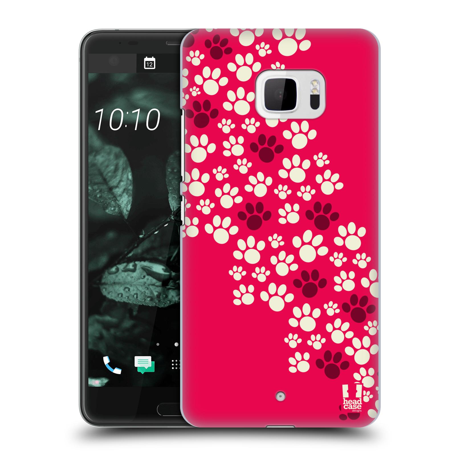 Plastové pouzdro na mobil HTC U Ultra Head Case - TLAPKY RŮŽOVÉ (Plastový kryt či obal na mobilní telefon HTC U Ultra (99HALT015-00))
