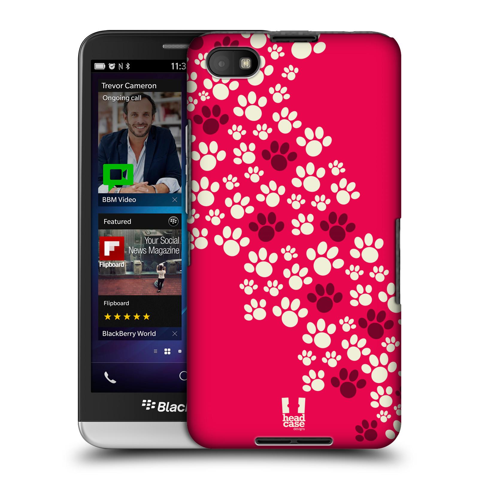 Plastové pouzdro na mobil Blackberry Z30 HEAD CASE TLAPKY RŮŽOVÉ (Kryt či obal na mobilní telefon Blackberry Z30)
