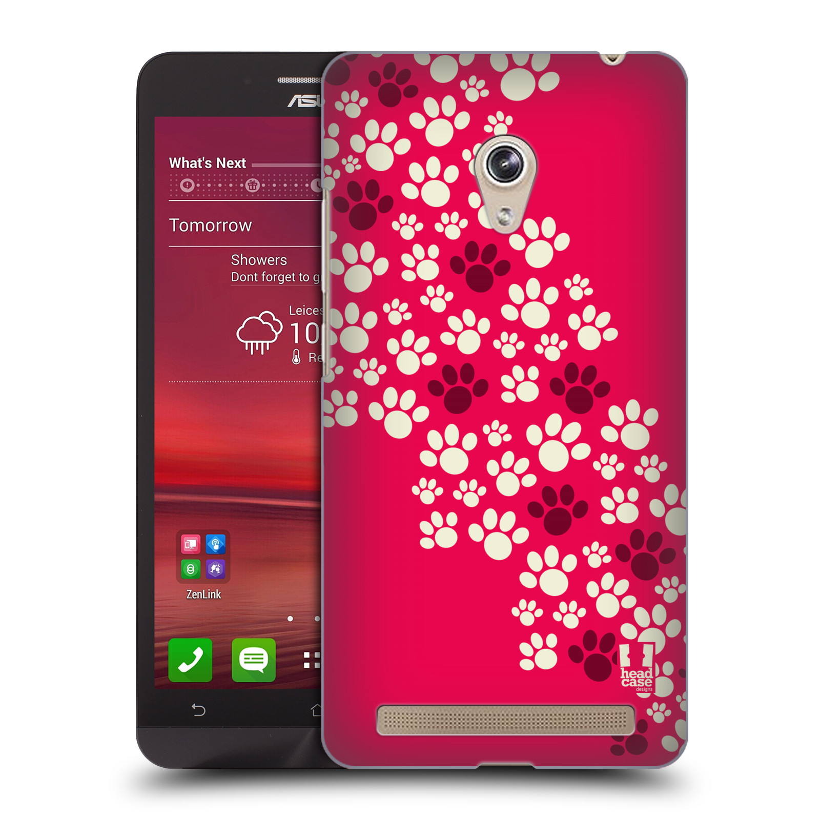Plastové pouzdro na mobil Asus Zenfone 6 HEAD CASE TLAPKY RŮŽOVÉ (Kryt či obal na mobilní telefon Asus Zenfone 6 A600CG / A601CG)
