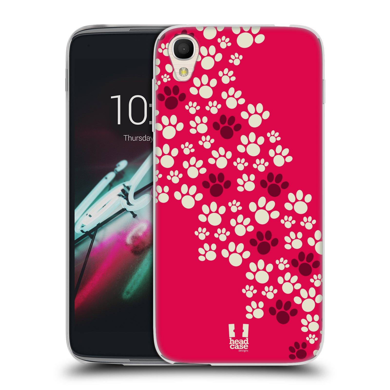"Silikonové pouzdro na mobil Alcatel One Touch 6039Y Idol 3 HEAD CASE TLAPKY RŮŽOVÉ (Silikonový kryt či obal na mobilní telefon Alcatel One Touch Idol 3 OT-6039Y s 4,7"" displejem)"