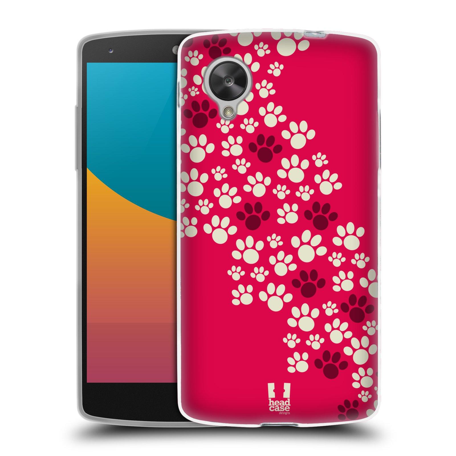 Silikonové pouzdro na mobil LG Nexus 5 HEAD CASE TLAPKY RŮŽOVÉ (Silikonový kryt či obal na mobilní telefon LG Google Nexus 5 D821)