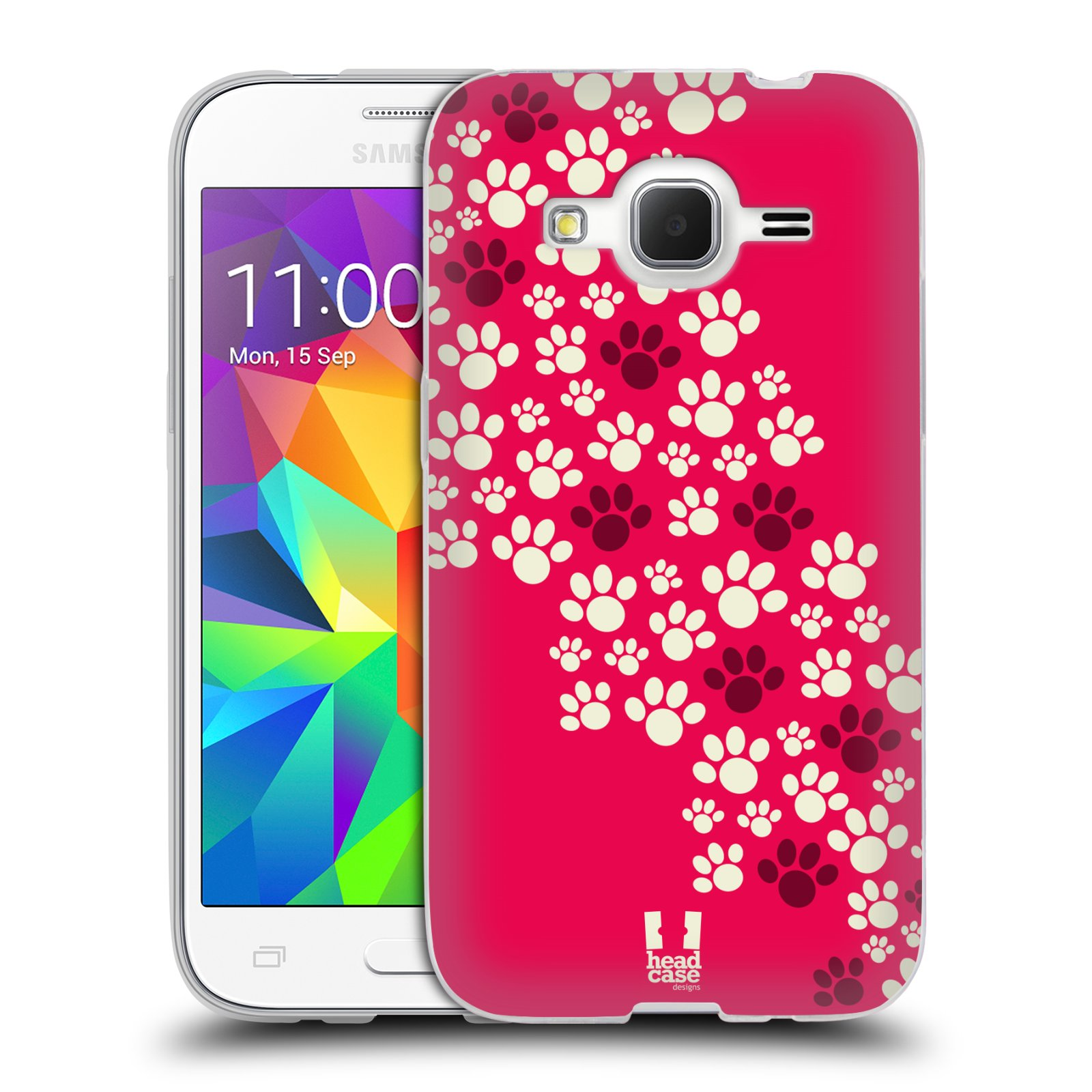 Silikonové pouzdro na mobil Samsung Galaxy Core Prime LTE HEAD CASE TLAPKY RŮŽOVÉ (Silikonový kryt či obal na mobilní telefon Samsung Galaxy Core Prime LTE SM-G360)