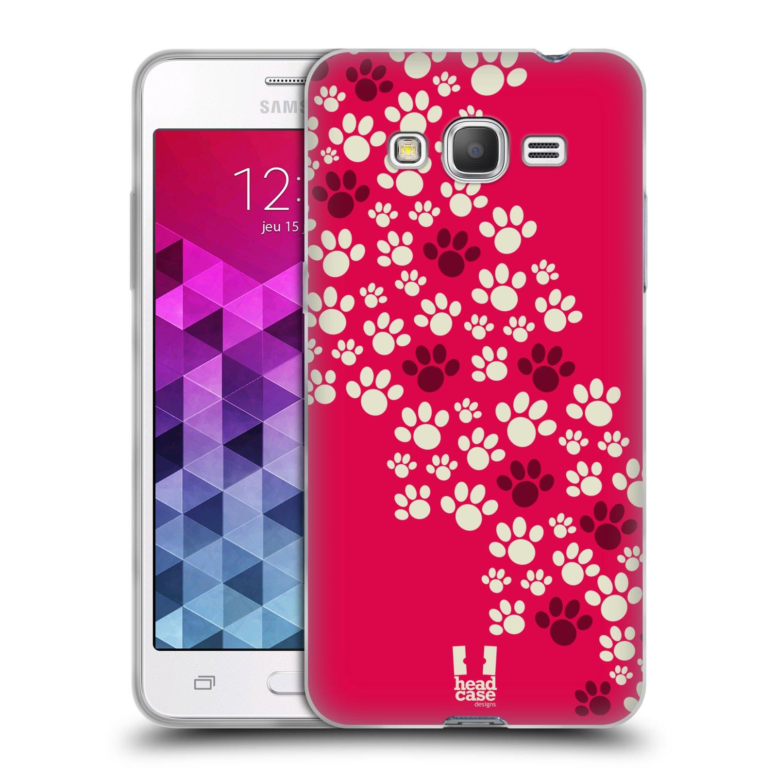 Silikonové pouzdro na mobil Samsung Galaxy Grand Prime VE HEAD CASE TLAPKY RŮŽOVÉ (Silikonový kryt či obal na mobilní telefon Samsung Galaxy Grand Prime VE SM-G531F)