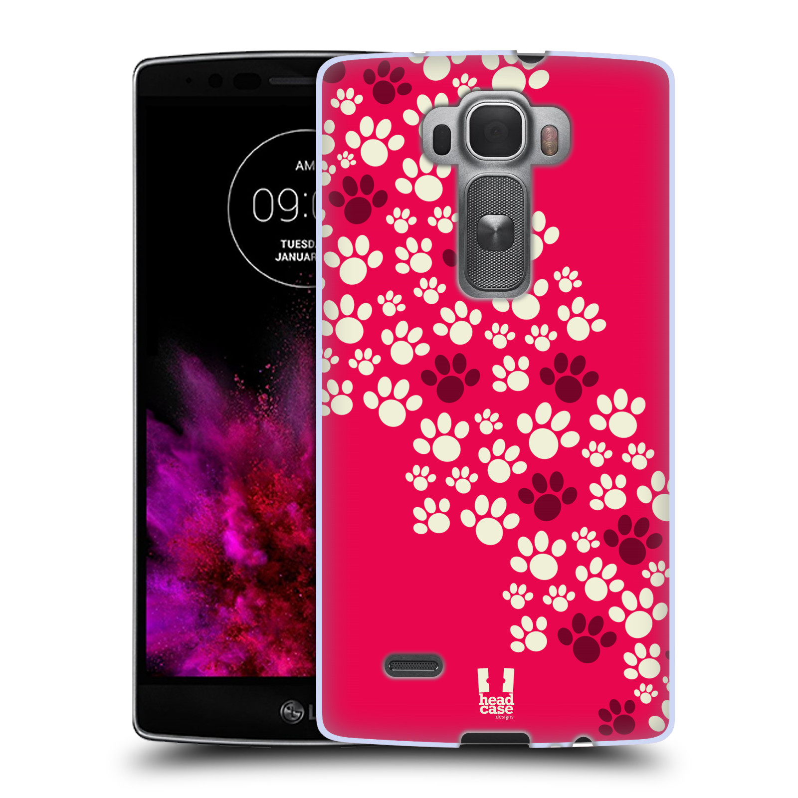 Silikonové pouzdro na mobil LG G Flex 2 HEAD CASE TLAPKY RŮŽOVÉ (Silikonový kryt či obal na mobilní telefon LG G Flex 2 H955)