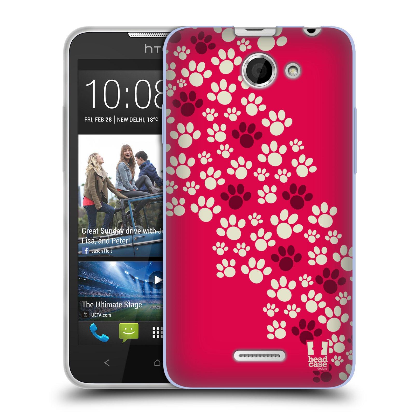 Silikonové pouzdro na mobil HTC Desire 516 HEAD CASE TLAPKY RŮŽOVÉ (Silikonový kryt či obal na mobilní telefon HTC Desire 516 Dual SIM)