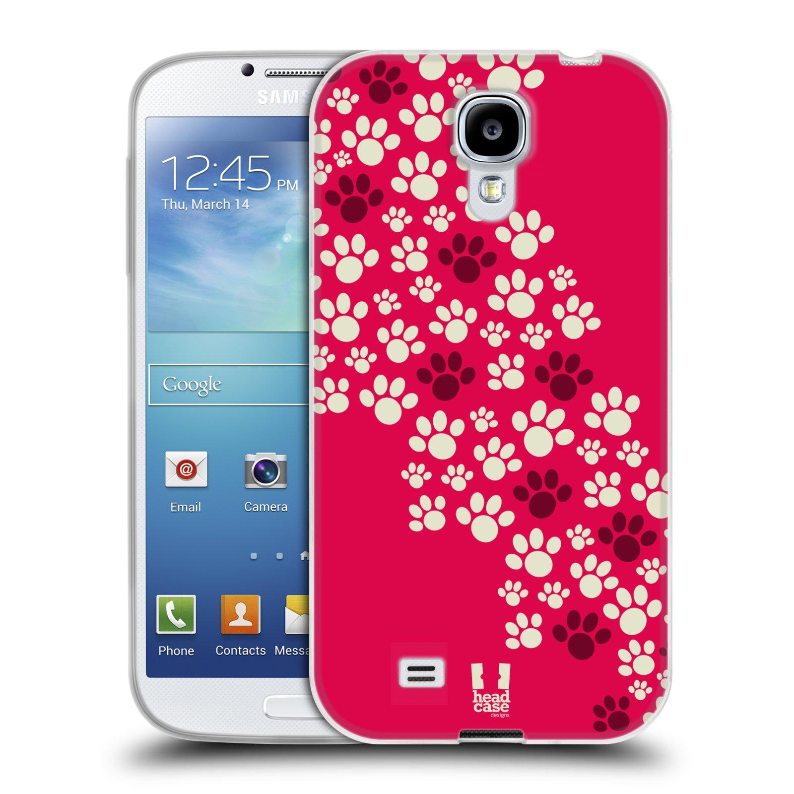 Silikonové pouzdro na mobil Samsung Galaxy S4 HEAD CASE TLAPKY RŮŽOVÉ