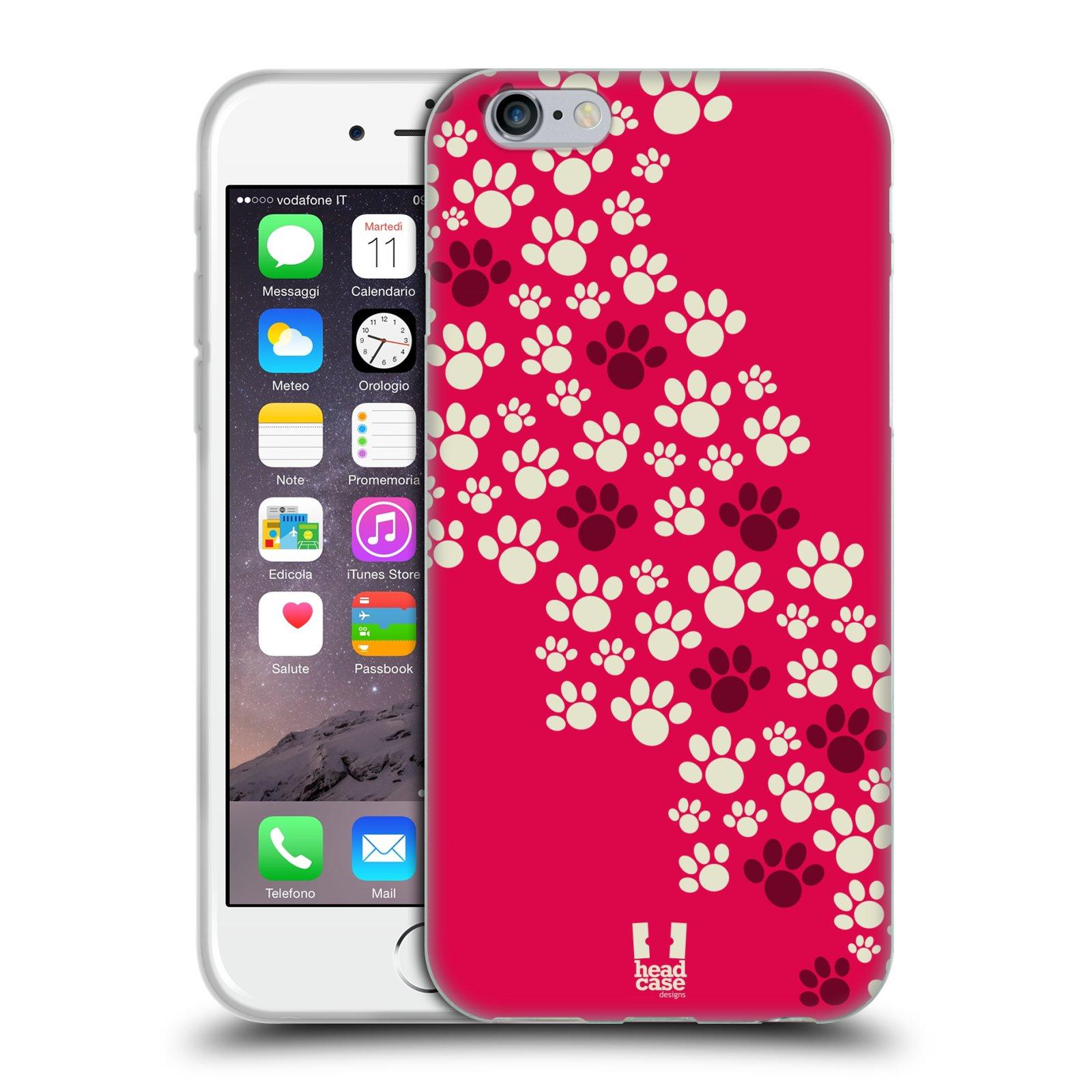 Silikonové pouzdro na mobil Apple iPhone 6 a 6S HEAD CASE TLAPKY RŮŽOVÉ (Silikonový  kryt c35285d4218