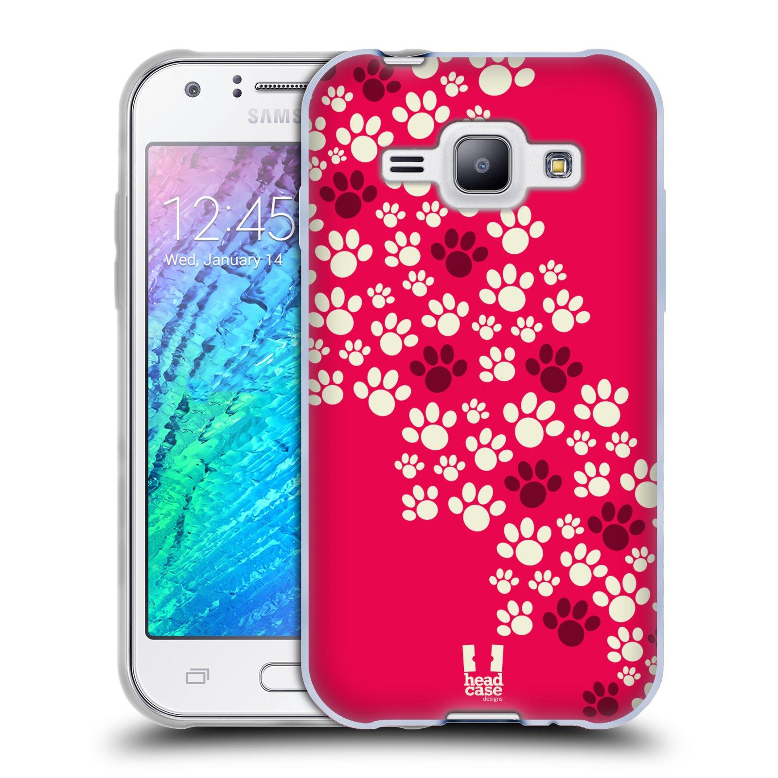Silikonové pouzdro na mobil Samsung Galaxy J1 HEAD CASE TLAPKY RŮŽOVÉ (Silikonový kryt či obal na mobilní telefon Samsung Galaxy J1 a J1 Duos)