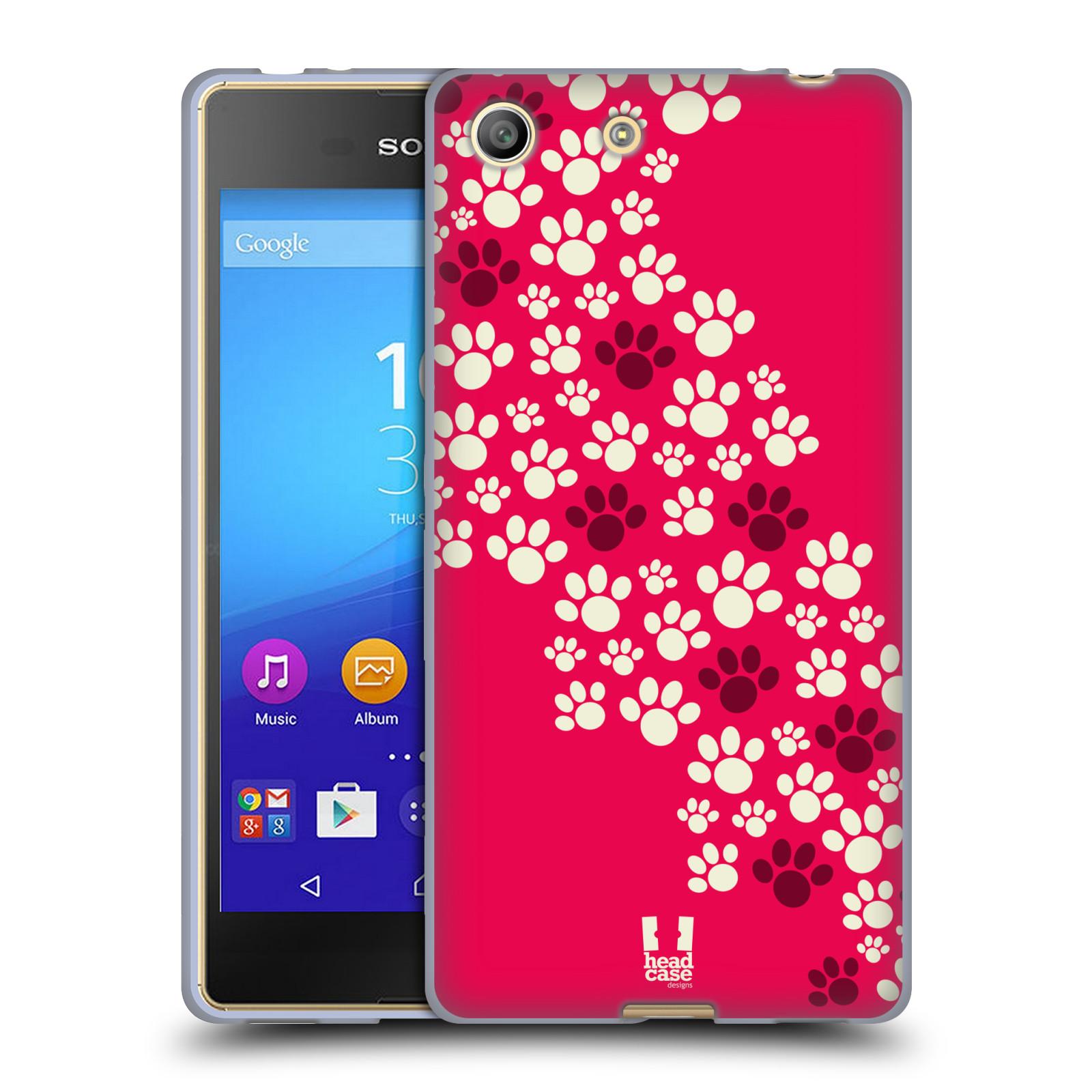 Silikonové pouzdro na mobil Sony Xperia M5 HEAD CASE TLAPKY RŮŽOVÉ (Silikonový kryt či obal na mobilní telefon Sony Xperia M5 Dual SIM / Aqua)