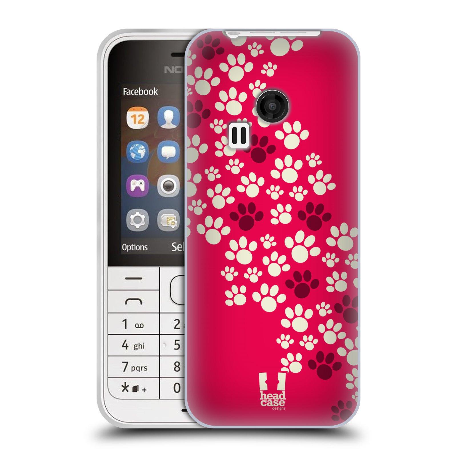 Silikonové pouzdro na mobil Nokia 220 HEAD CASE TLAPKY RŮŽOVÉ (Silikonový kryt či obal na mobilní telefon Nokia 220 a 220 Dual SIM)