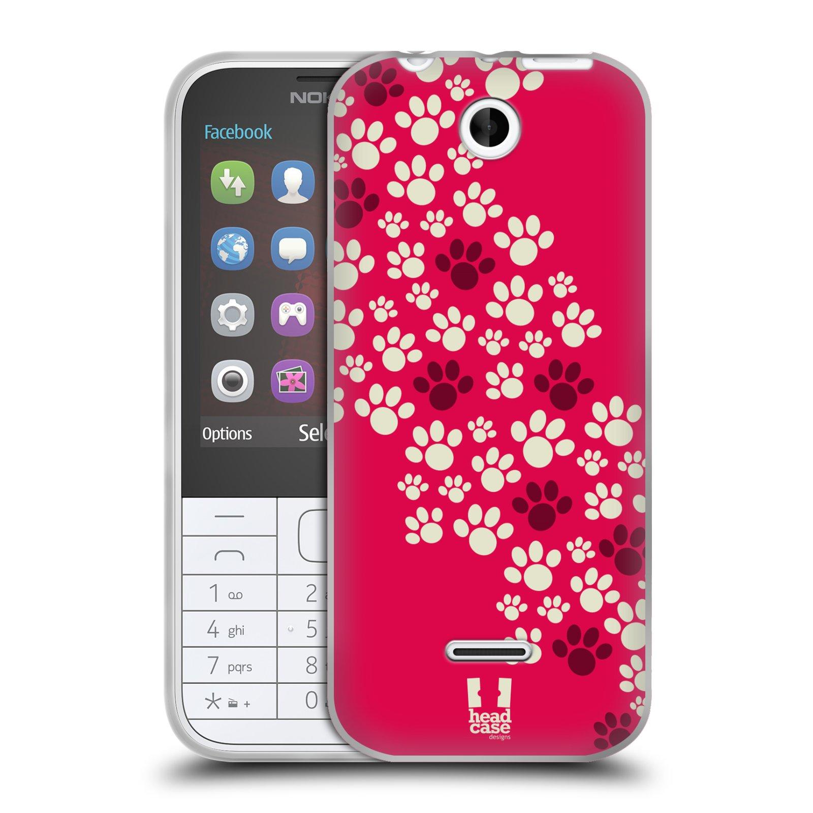 Silikonové pouzdro na mobil Nokia 225 HEAD CASE TLAPKY RŮŽOVÉ (Silikonový kryt či obal na mobilní telefon Nokia 225)