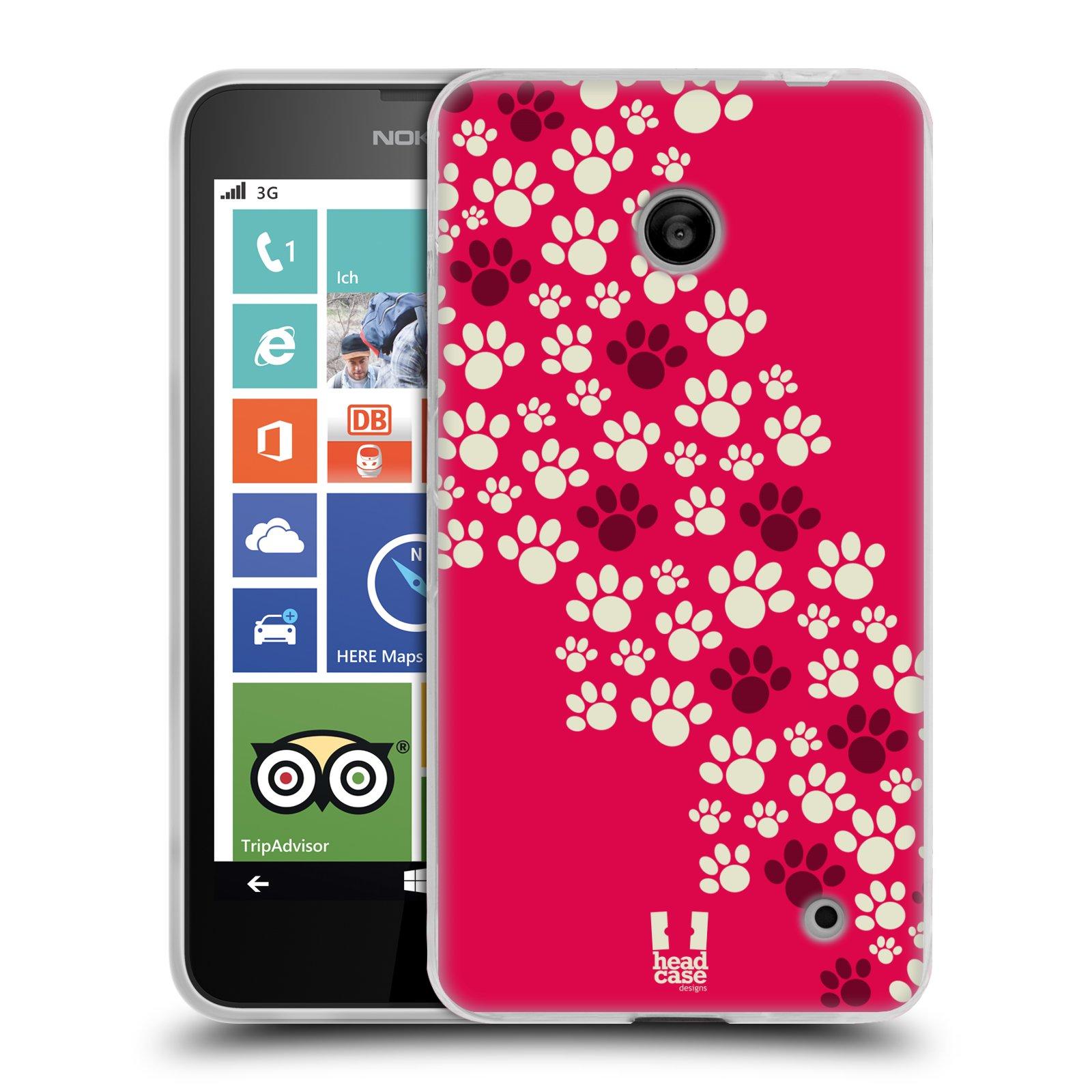 Silikonové pouzdro na mobil Nokia Lumia 630 HEAD CASE TLAPKY RŮŽOVÉ (Silikonový kryt či obal na mobilní telefon Nokia Lumia 630 a Nokia Lumia 630 Dual SIM)