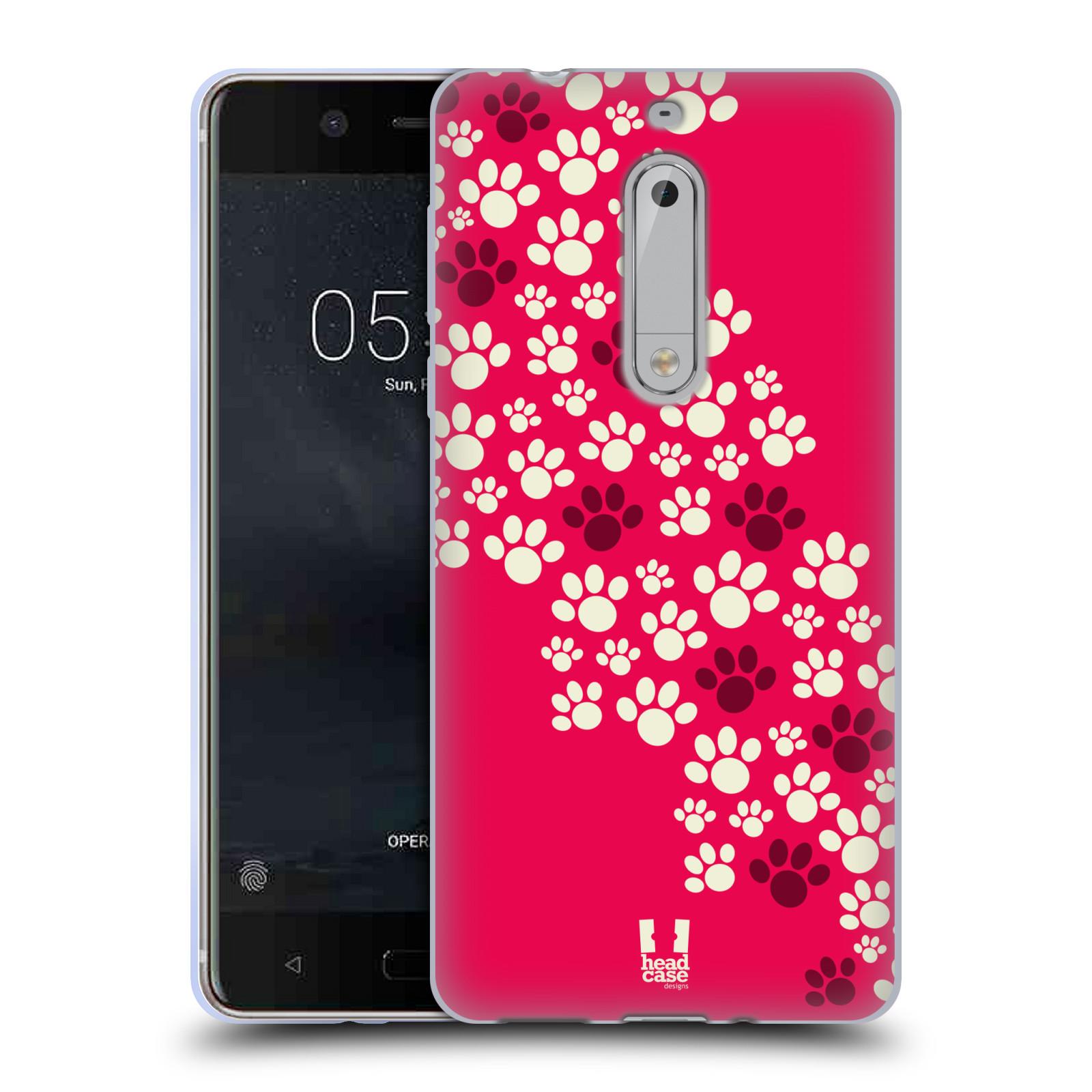 Silikonové pouzdro na mobil Nokia 5 Head Case - TLAPKY RŮŽOVÉ
