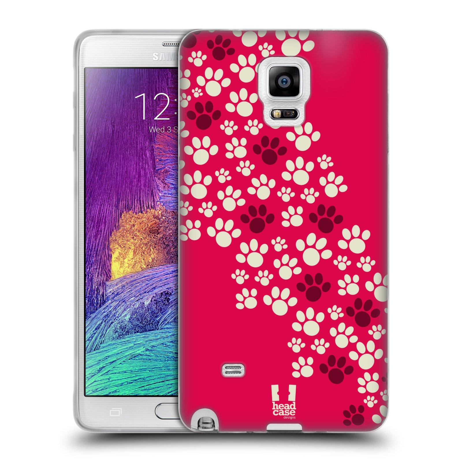 Silikonové pouzdro na mobil Samsung Galaxy Note 4 HEAD CASE TLAPKY RŮŽOVÉ (Silikonový kryt či obal na mobilní telefon Samsung Galaxy Note 4 SM-N910F)