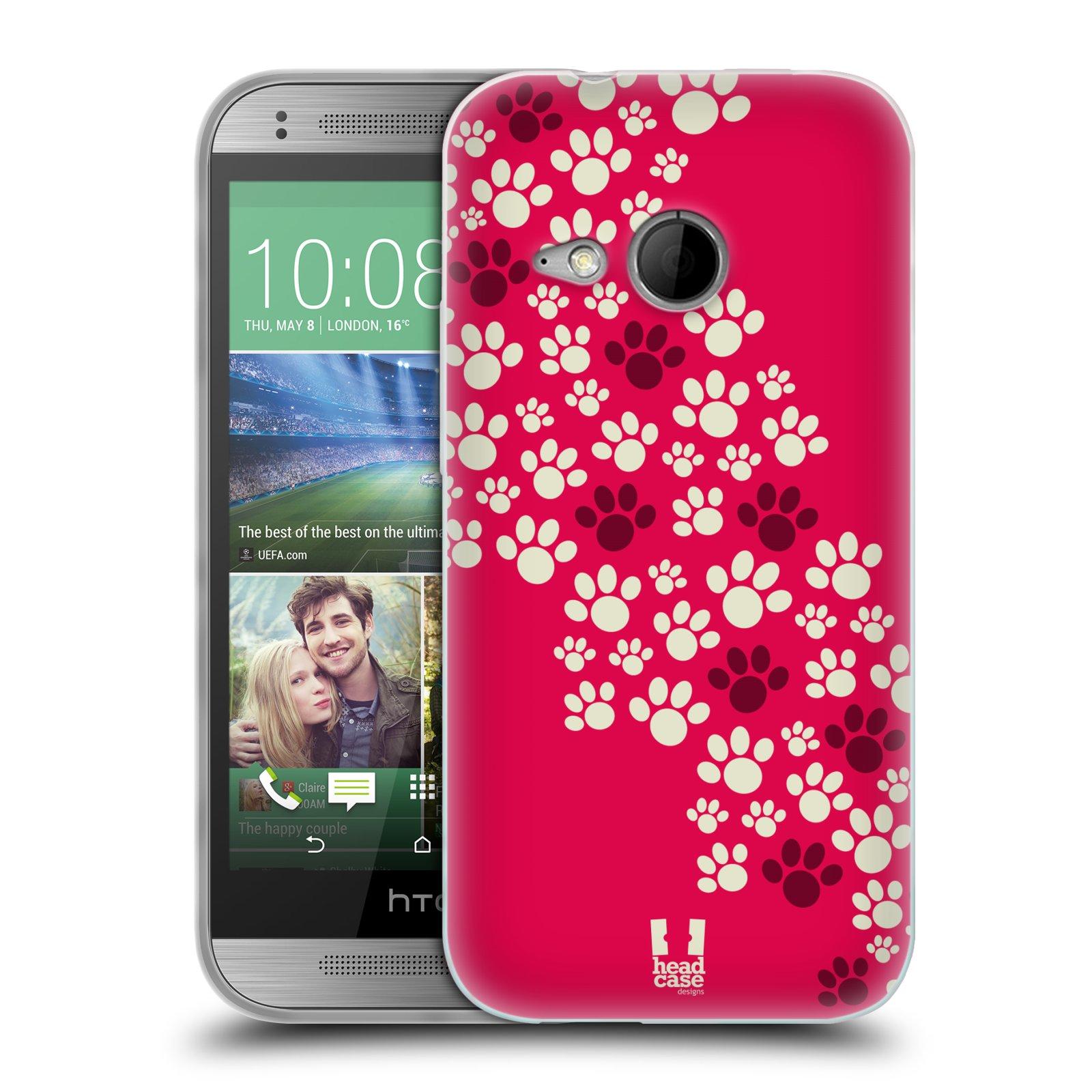 Silikonové pouzdro na mobil HTC ONE Mini 2 HEAD CASE TLAPKY RŮŽOVÉ (Silikonový kryt či obal na mobilní telefon HTC ONE Mini 2)