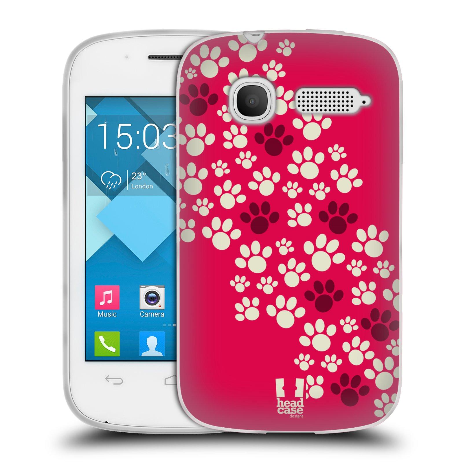 Silikonové pouzdro na mobil Alcatel One Touch Pop C1 HEAD CASE TLAPKY RŮŽOVÉ (Silikonový kryt či obal na mobilní telefon Alcatel OT-4015D POP C1)