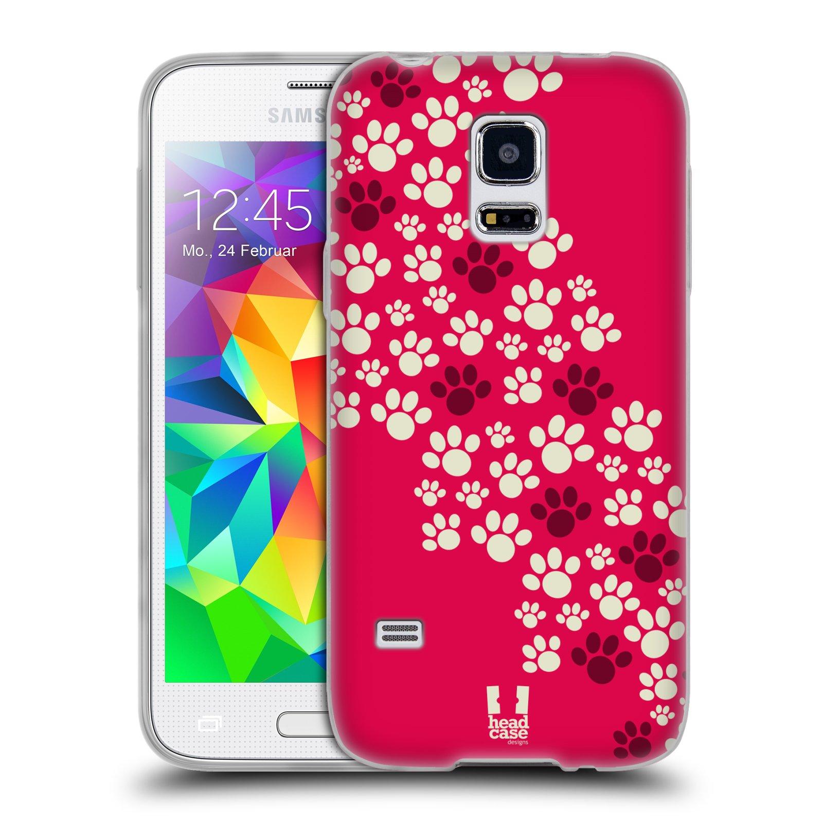 Silikonové pouzdro na mobil Samsung Galaxy S5 Mini HEAD CASE TLAPKY RŮŽOVÉ (Silikonový kryt či obal na mobilní telefon Samsung Galaxy S5 Mini SM-G800F)