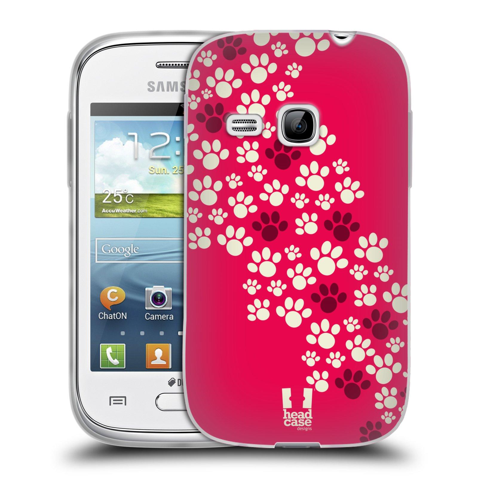 Silikonové pouzdro na mobil Samsung Galaxy Young HEAD CASE TLAPKY RŮŽOVÉ (Silikonový kryt či obal na mobilní telefon Samsung Galaxy Young GT-S6310)