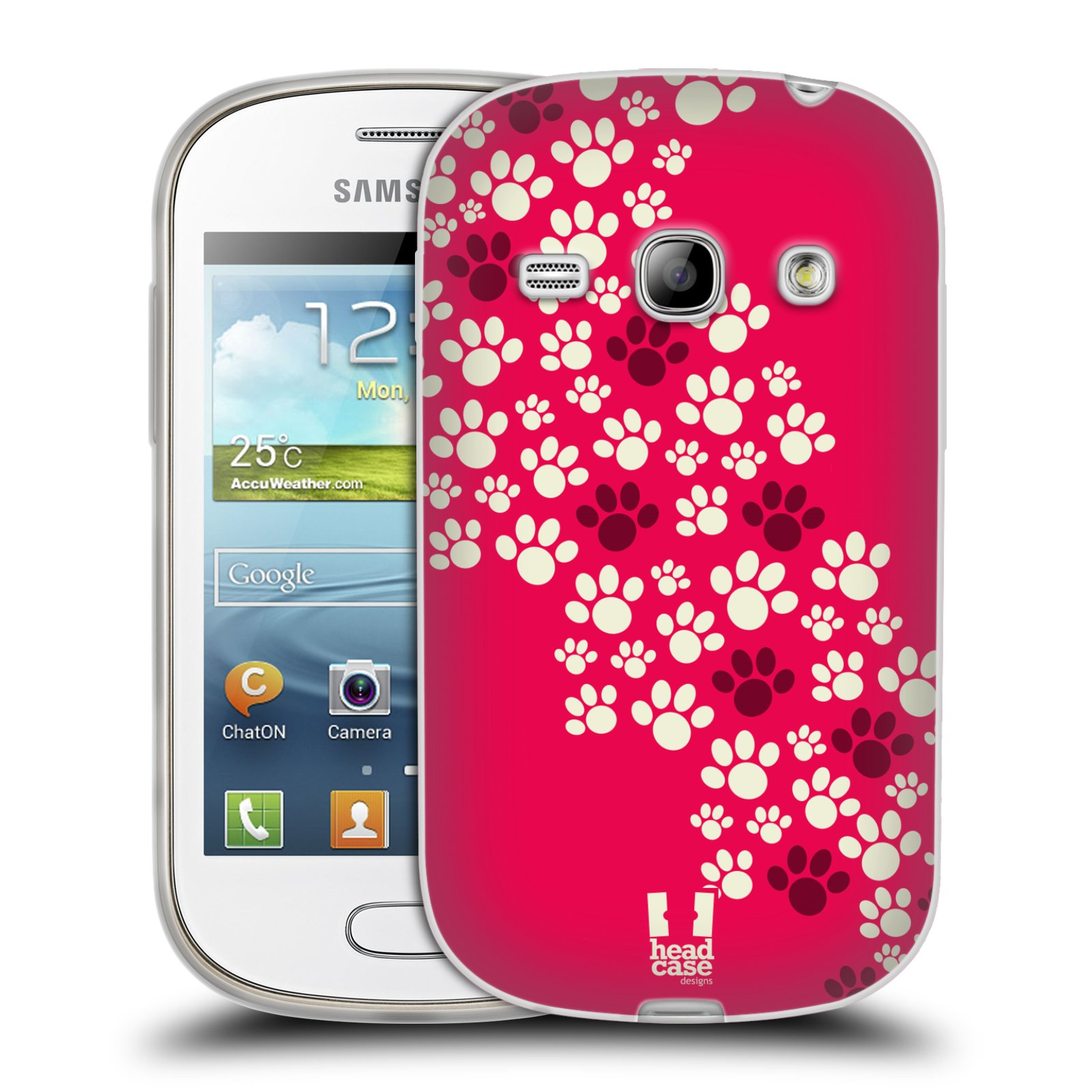 Silikonové pouzdro na mobil Samsung Galaxy Fame HEAD CASE TLAPKY RŮŽOVÉ (Silikonový kryt či obal na mobilní telefon Samsung Galaxy Fame GT-S6810)