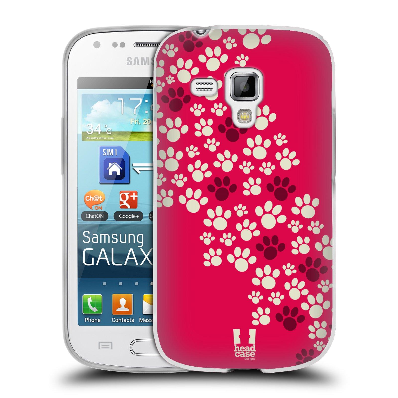 Silikonové pouzdro na mobil Samsung Galaxy Trend HEAD CASE TLAPKY RŮŽOVÉ (Silikonový kryt či obal na mobilní telefon Samsung Galaxy Trend GT-S7560)