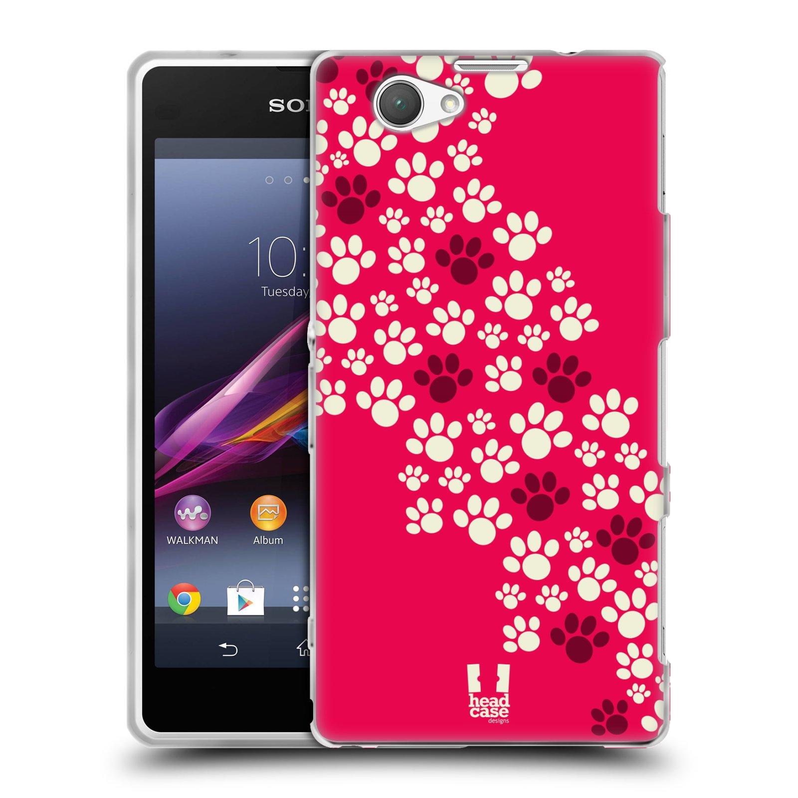 Silikonové pouzdro na mobil Sony Xperia Z1 Compact D5503 HEAD CASE TLAPKY RŮŽOVÉ (Silikonový kryt či obal na mobilní telefon Sony Xperia Z1 Compact)
