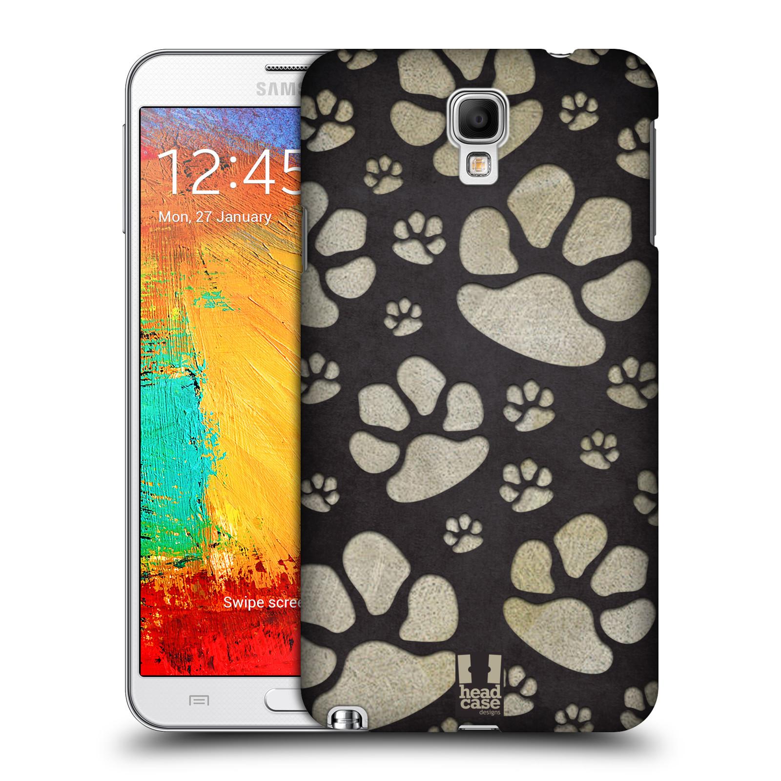 Plastové pouzdro na mobil Samsung Galaxy Note 3 Neo HEAD CASE TLAPKY ŠEDÉ (Kryt či obal na mobilní telefon Samsung Galaxy Note 3 Neo SM-N7505)