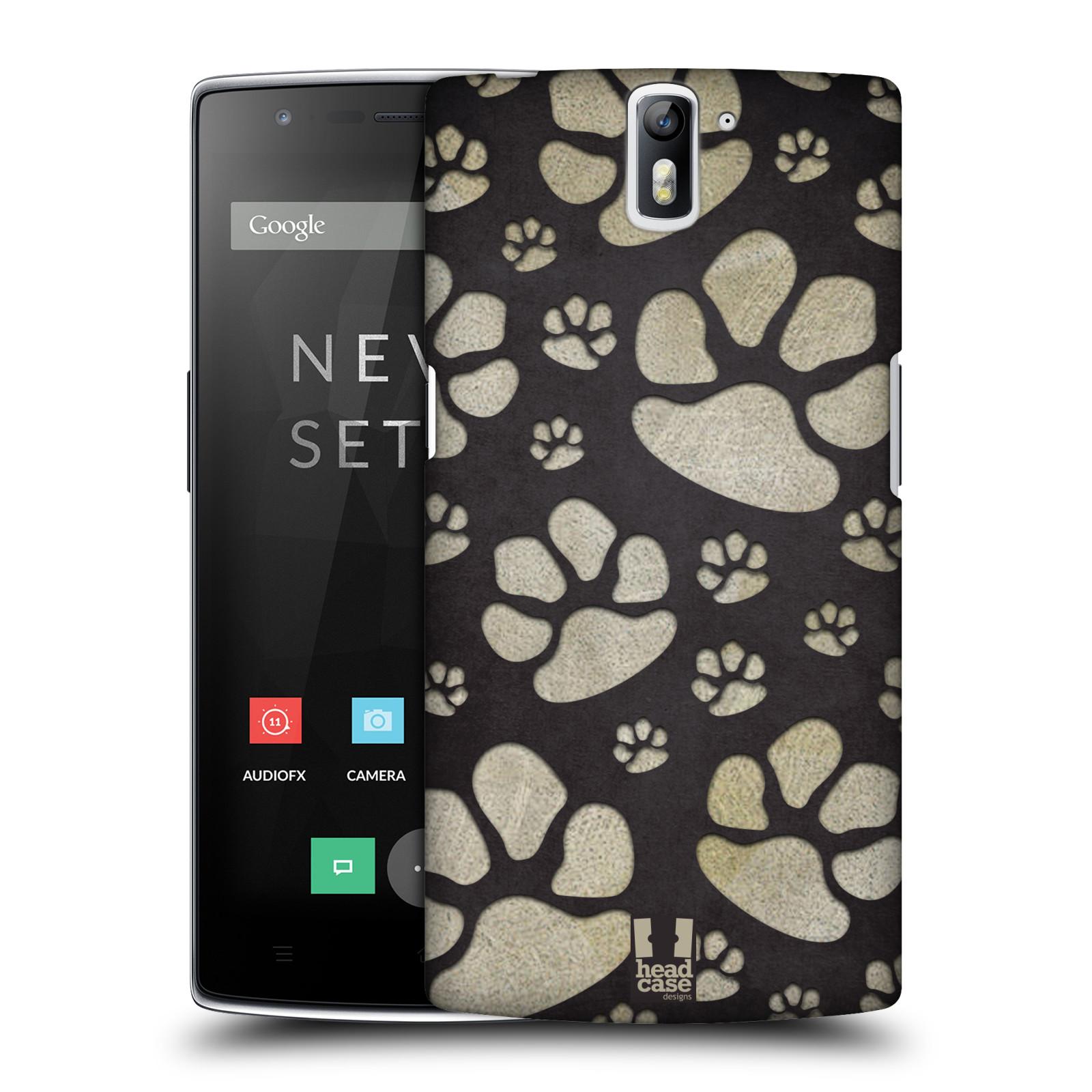 Plastové pouzdro na mobil OnePlus One HEAD CASE TLAPKY ŠEDÉ (Kryt či obal na mobilní telefon OnePlus One)