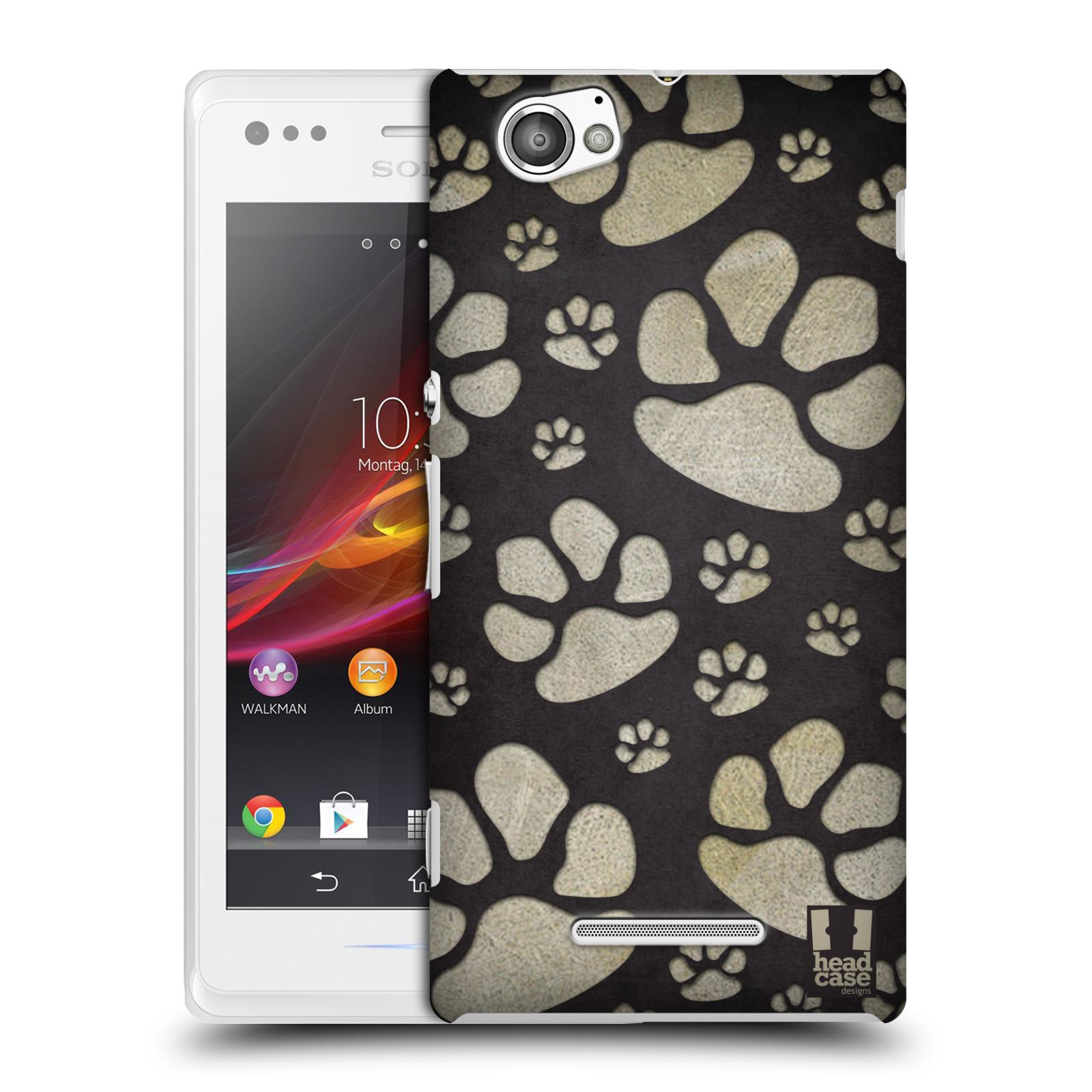 Plastové pouzdro na mobil Sony Xperia M C1905 HEAD CASE TLAPKY ŠEDÉ (Kryt či obal na mobilní telefon Sony Xperia M a M Dual)