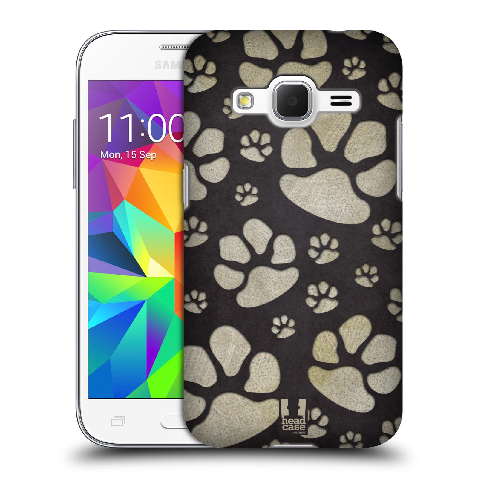 Plastové pouzdro na mobil Samsung Galaxy Core Prime VE HEAD CASE TLAPKY ŠEDÉ (Kryt či obal na mobilní telefon Samsung Galaxy Core Prime LTE VE SM-G361F)
