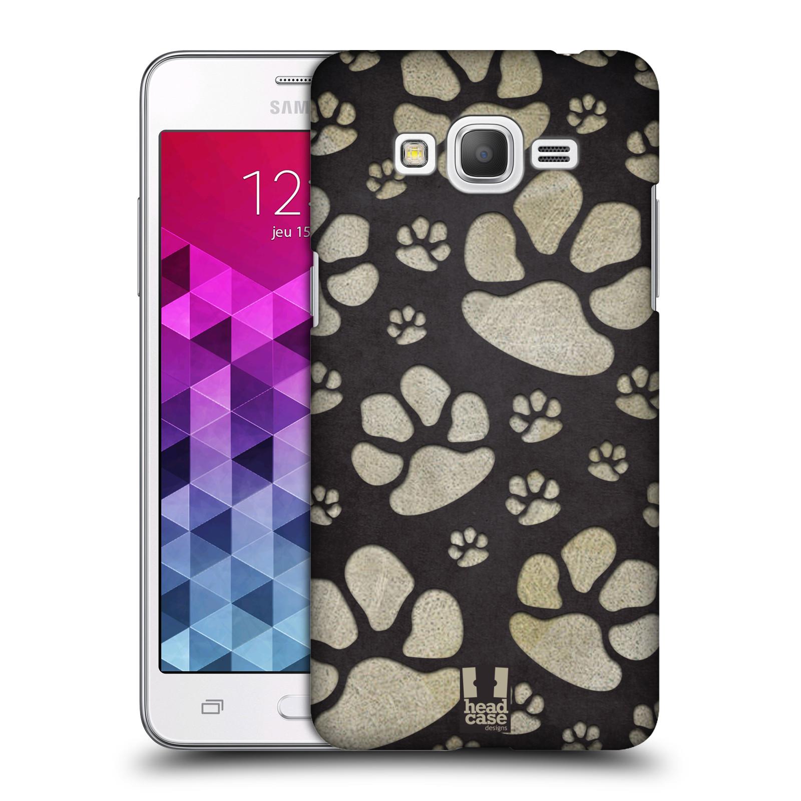 Plastové pouzdro na mobil Samsung Galaxy Grand Prime HEAD CASE TLAPKY ŠEDÉ (Kryt či obal na mobilní telefon Samsung Galaxy Grand Prime SM-G530)