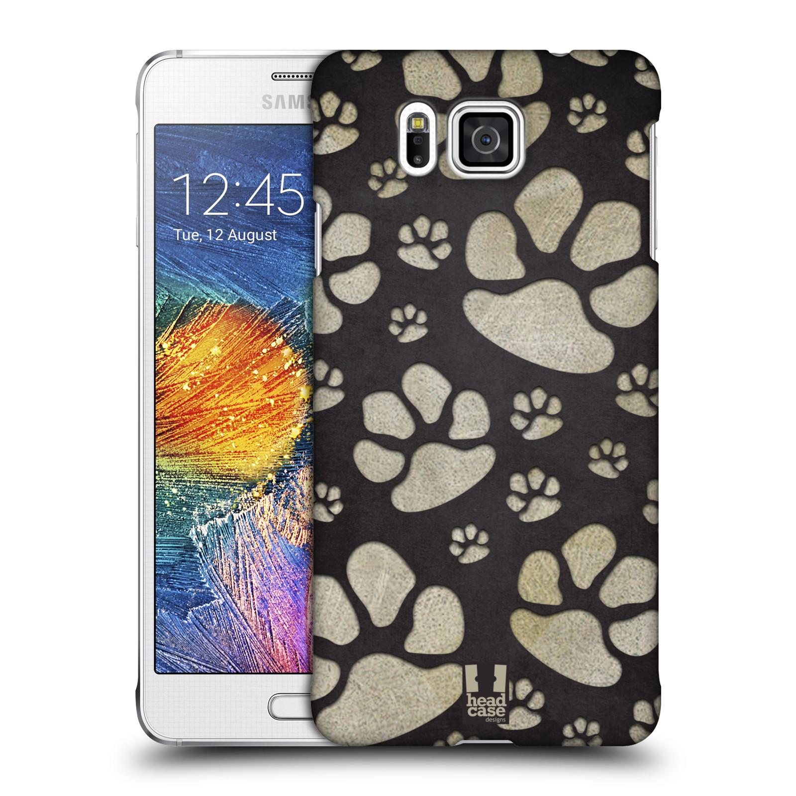 Plastové pouzdro na mobil Samsung Galaxy Alpha HEAD CASE TLAPKY ŠEDÉ (Kryt či obal na mobilní telefon Samsung Galaxy Alpha SM-G850)