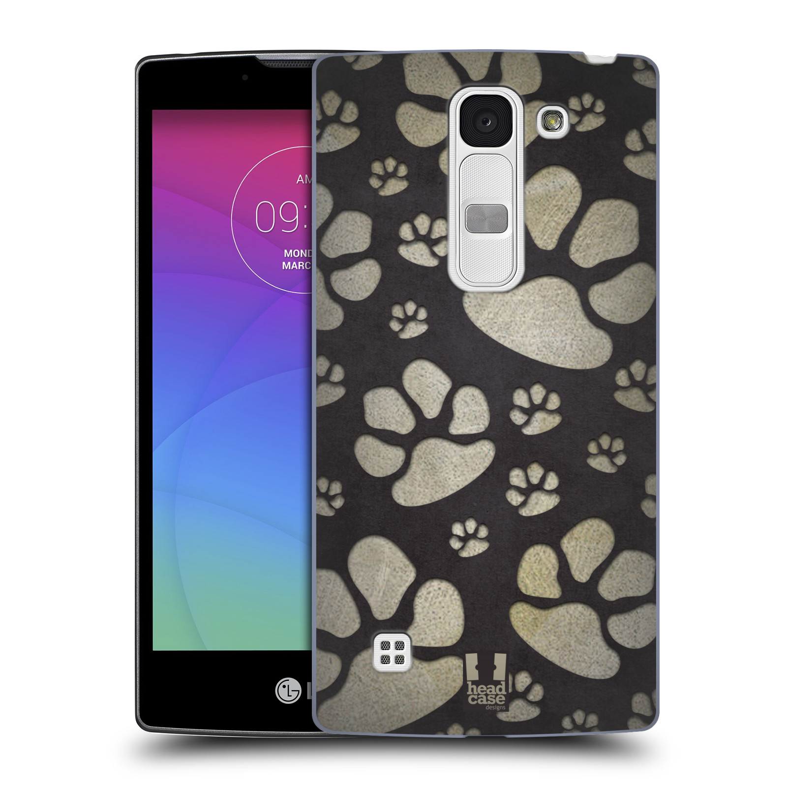 Plastové pouzdro na mobil LG Spirit LTE HEAD CASE TLAPKY ŠEDÉ (Kryt či obal na mobilní telefon LG Spirit H420 a LG Spirit LTE H440N)